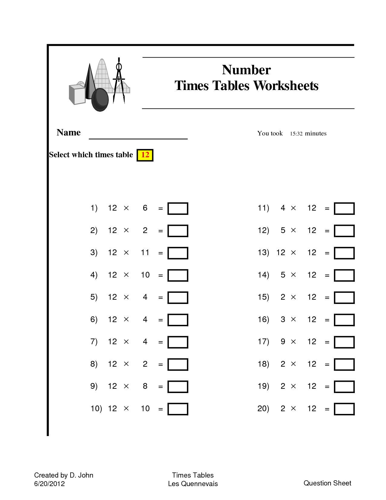 9 Best Images Of 10 Times Tables Worksheets Printable
