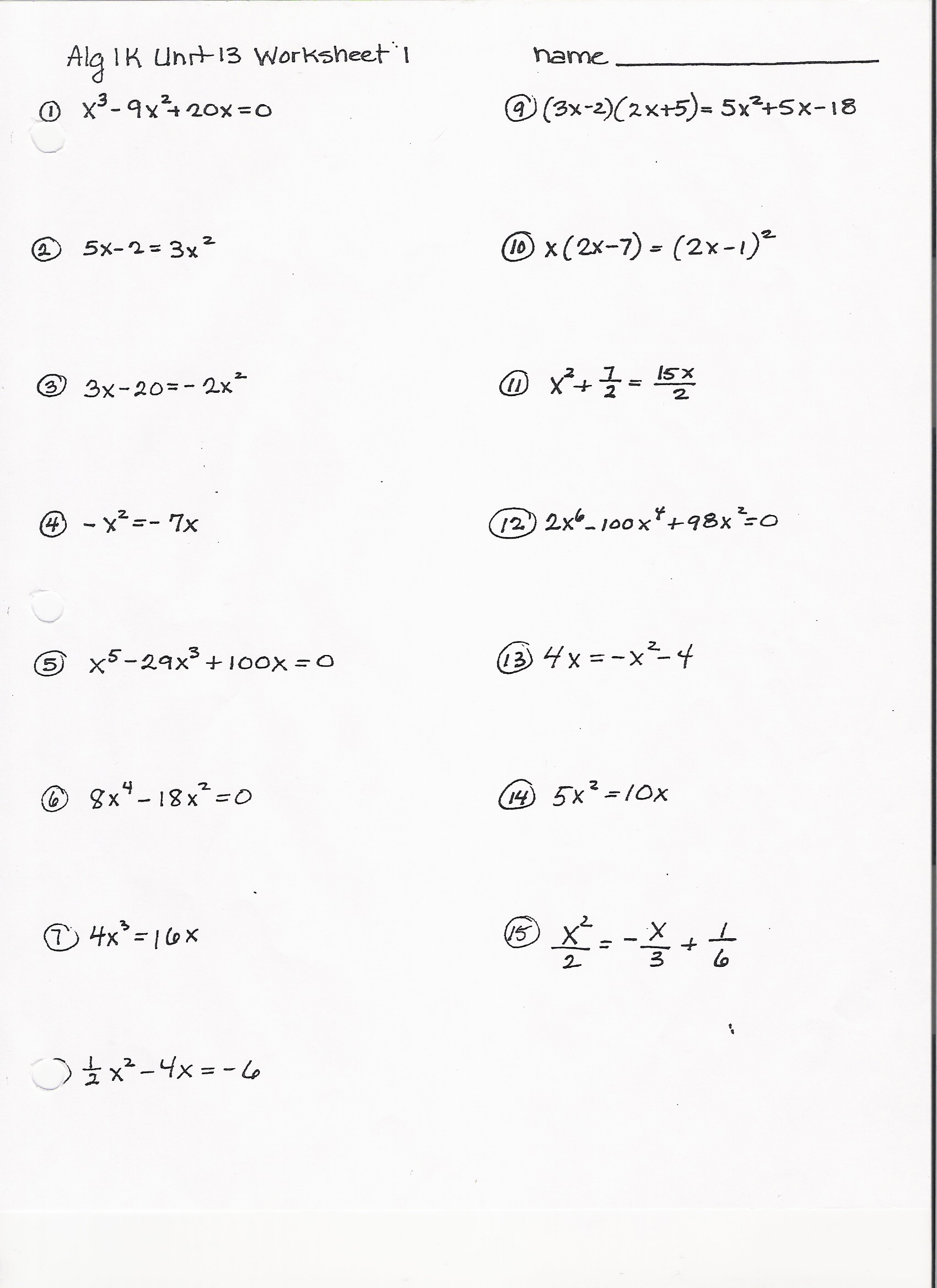 Algebra 2 Polynomial Functions Worksheet