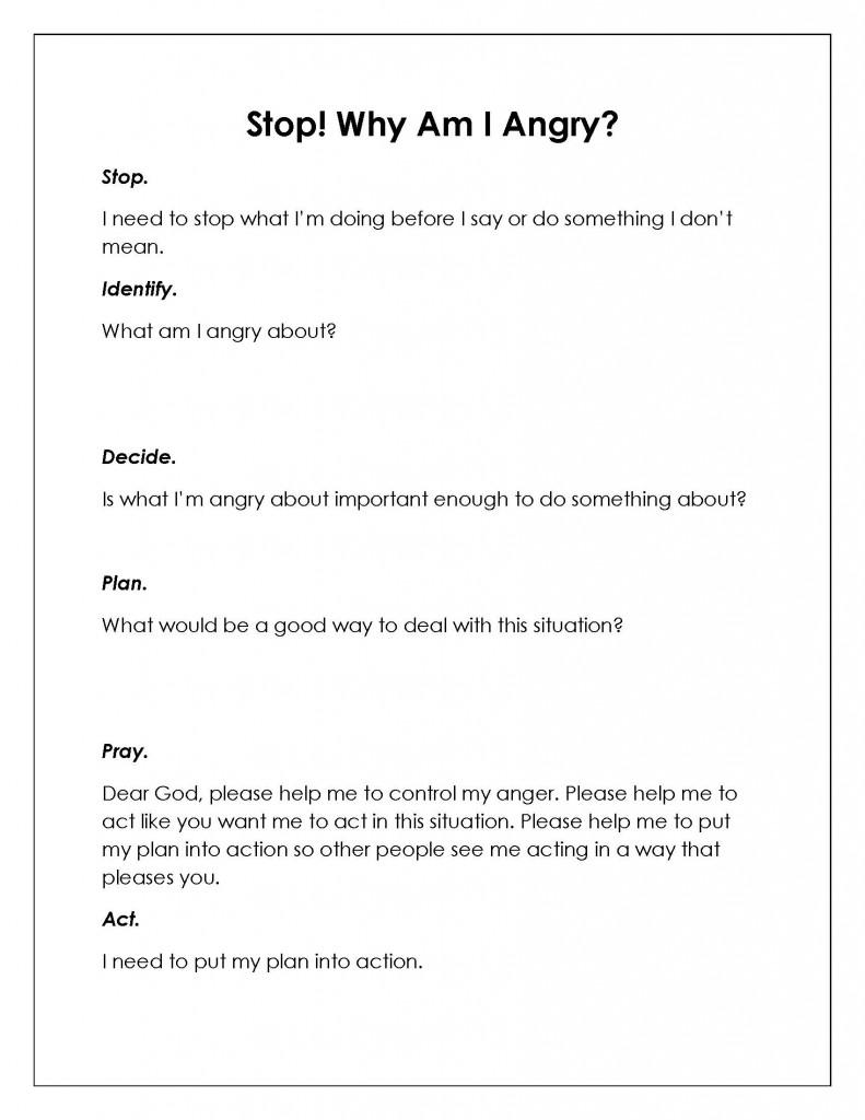 10 Best Images of Anger Management Worksheets