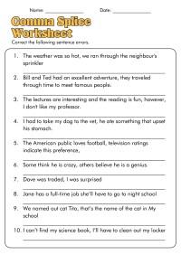17 Best Images of Comma Practice Worksheets - Comma Splice ...