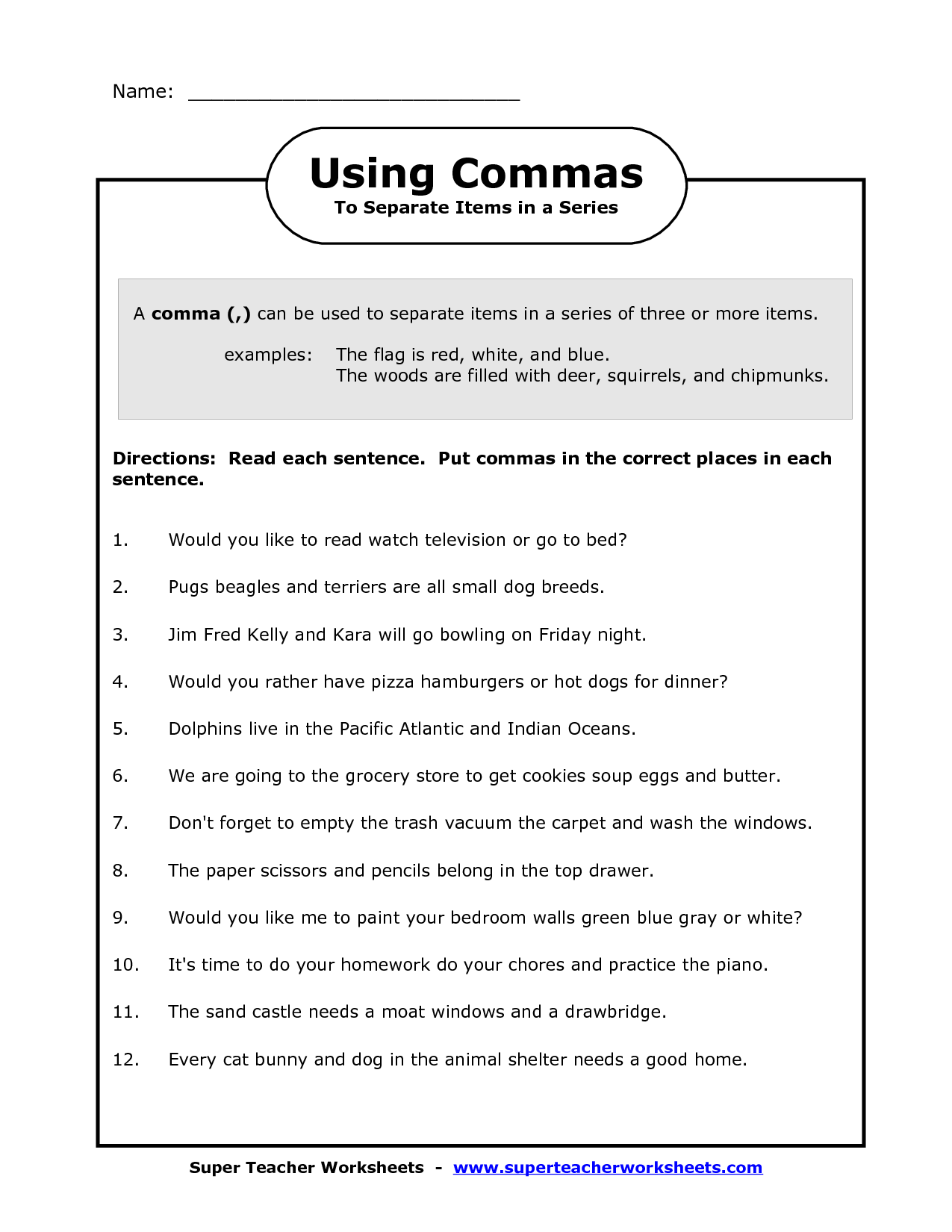 Worksheet On Commas