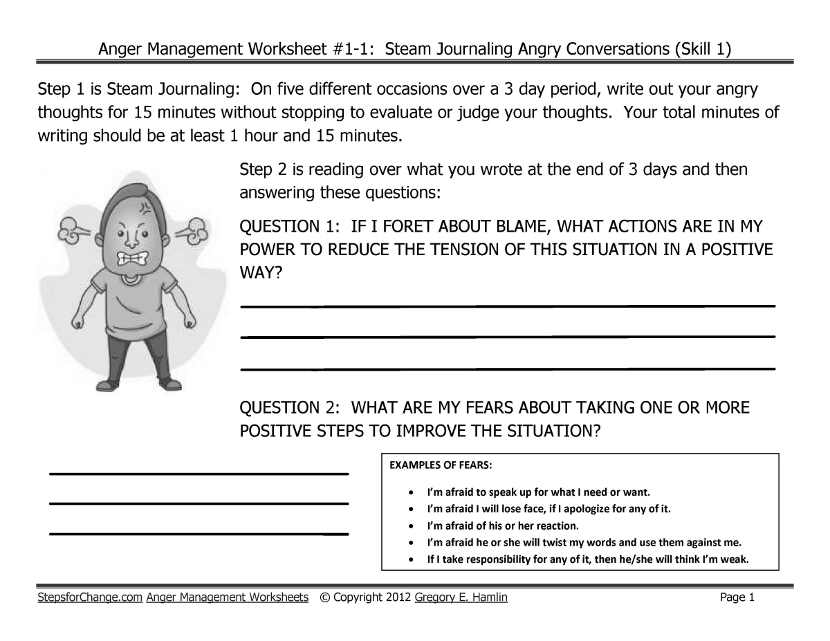10 Best Images Of Anger Management Worksheets