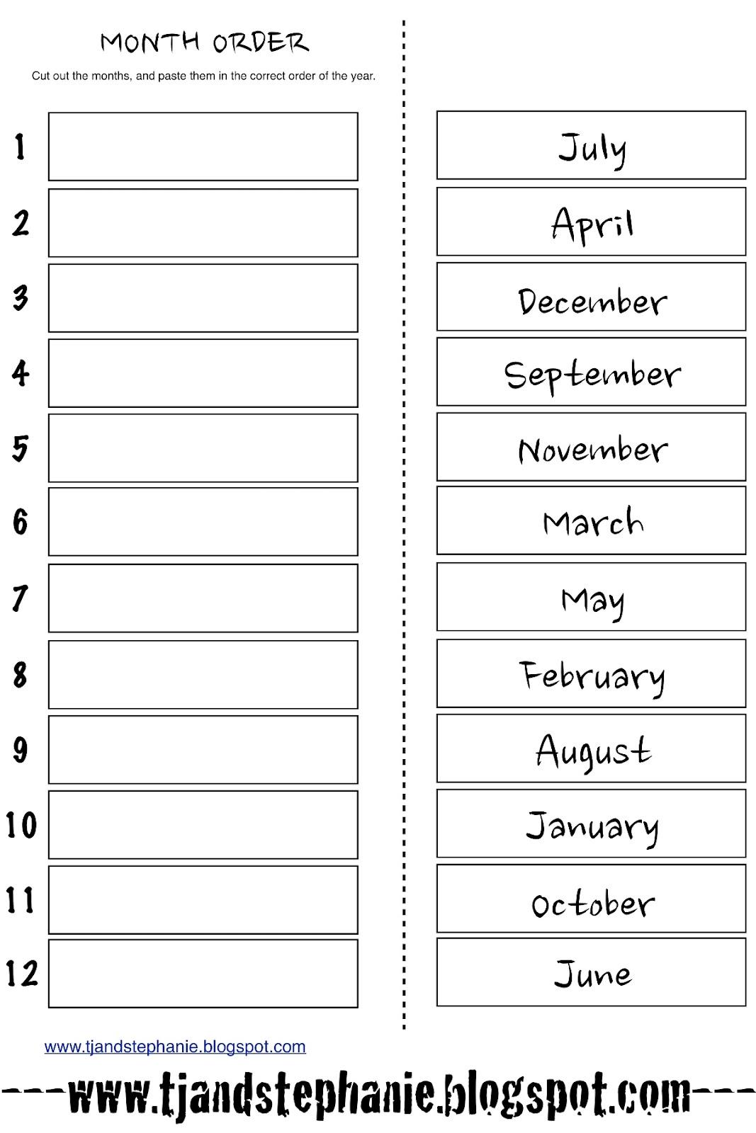 16 Best Images Of Months Worksheets For Kindergarten