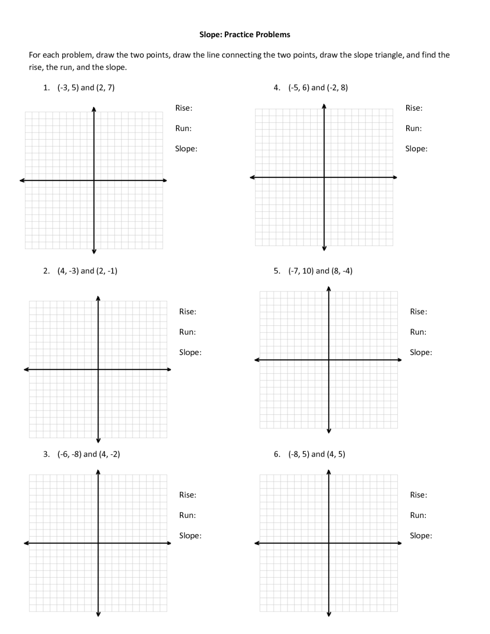 medium resolution of Find Slope From Two Points Worksheet   Printable Worksheets and Activities  for Teachers