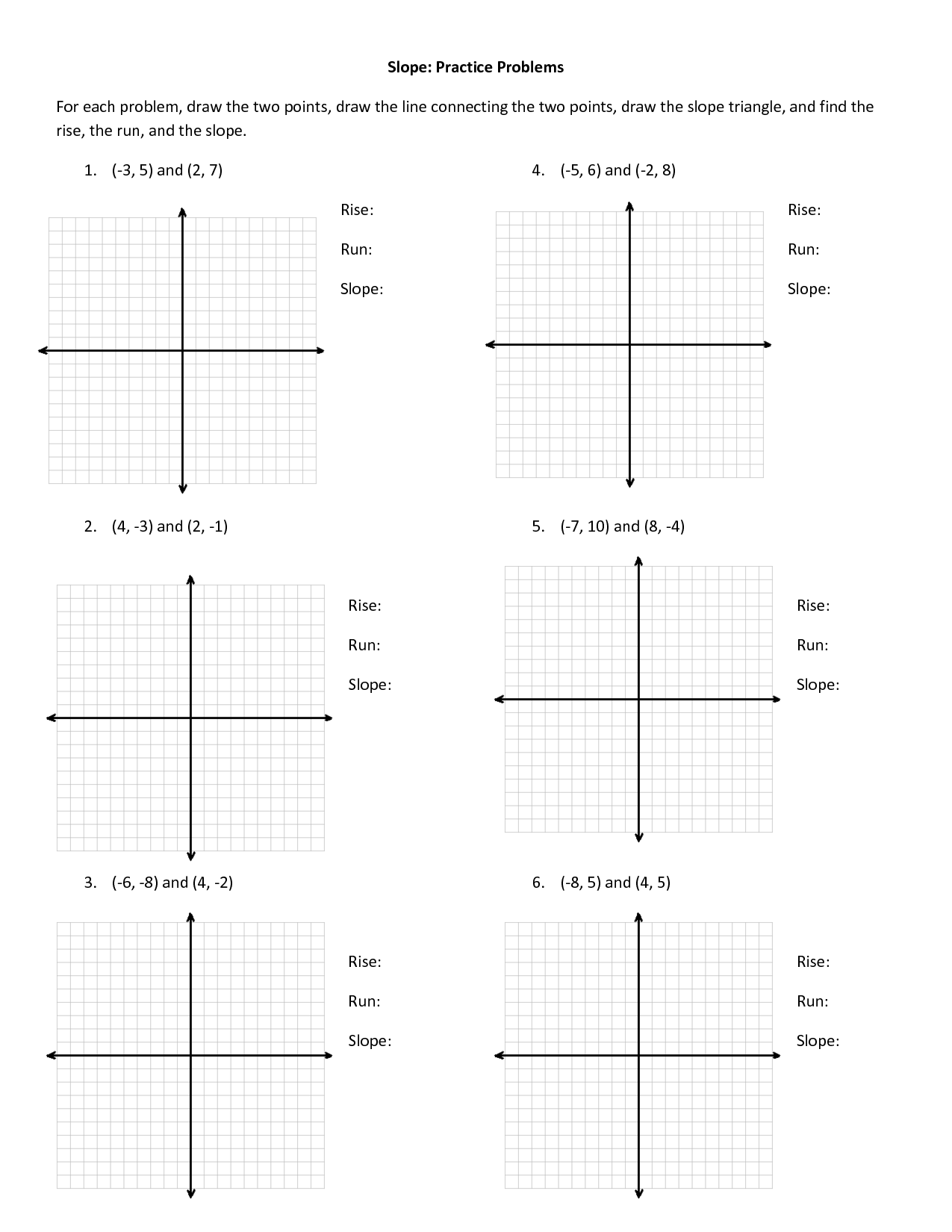hight resolution of Find Slope From Two Points Worksheet   Printable Worksheets and Activities  for Teachers