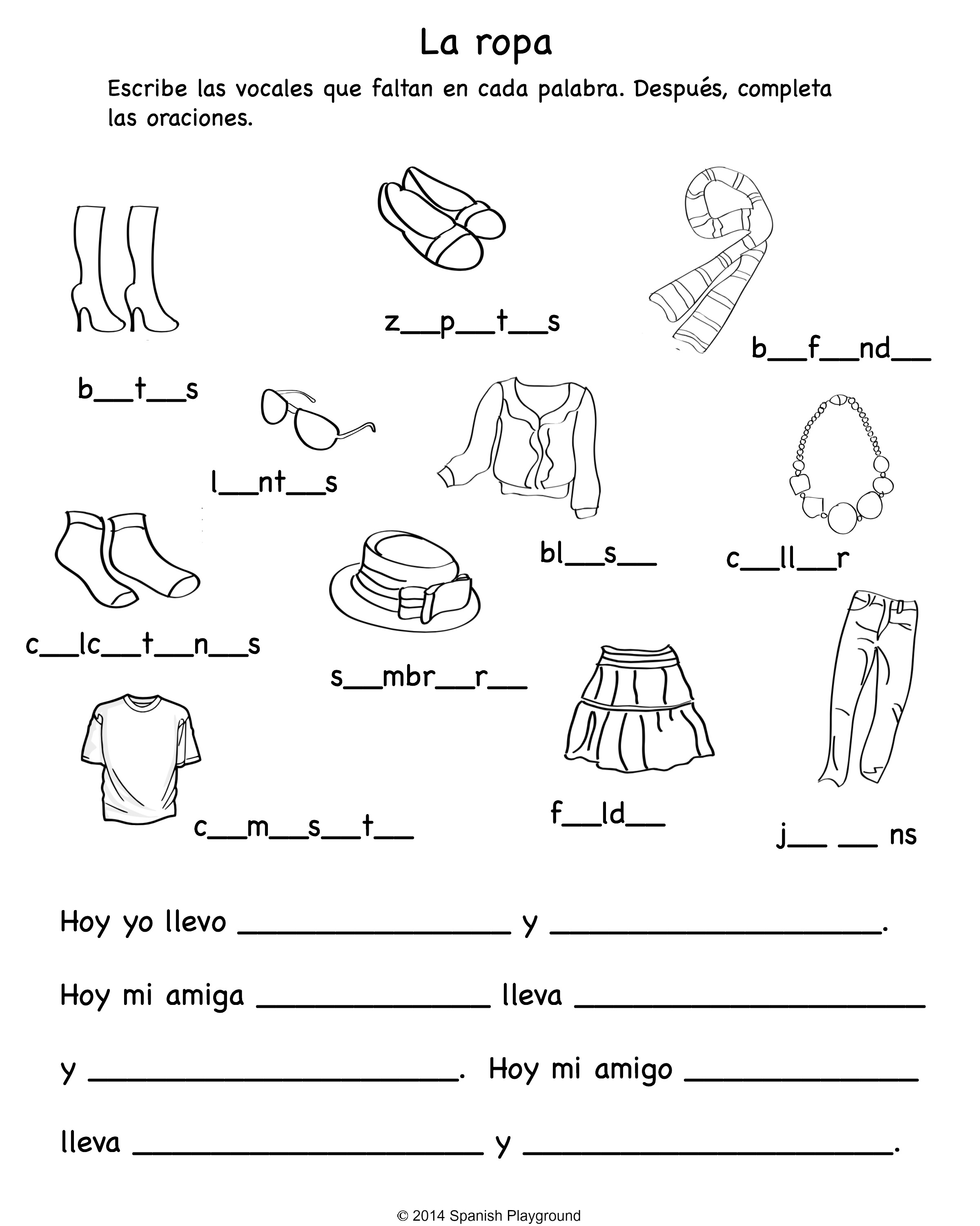 English Spanish Christmas Worksheet