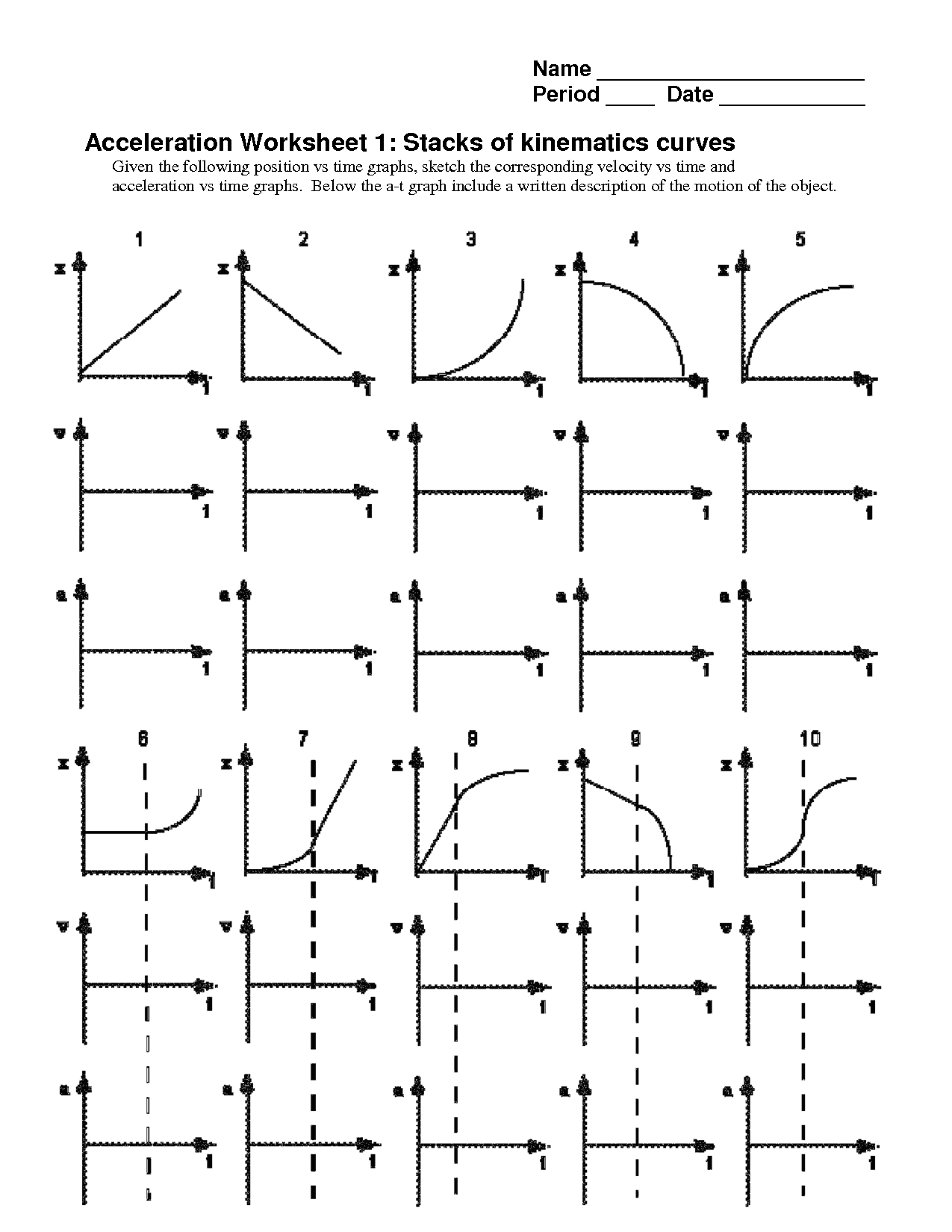 Motion Graphs Worksheet 6th Grade