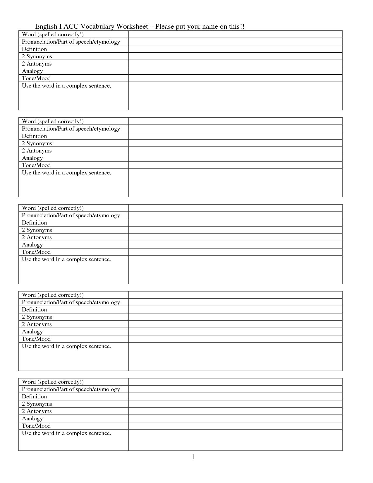 15 Best Images Of Word Definition Worksheets