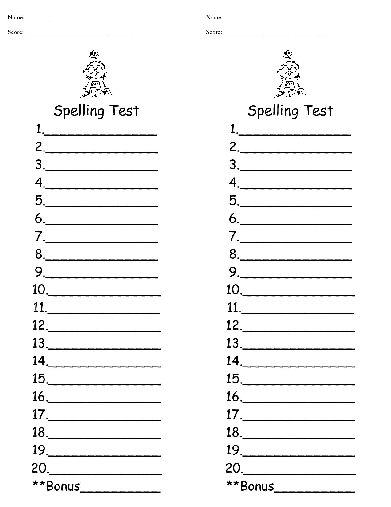 16 Best Images Of Free Spelling Test Worksheet