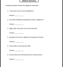 Sixth Grade Expressions With Variables Worksheets   Printable Worksheets  and Activities for Teachers [ 3174 x 2350 Pixel ]