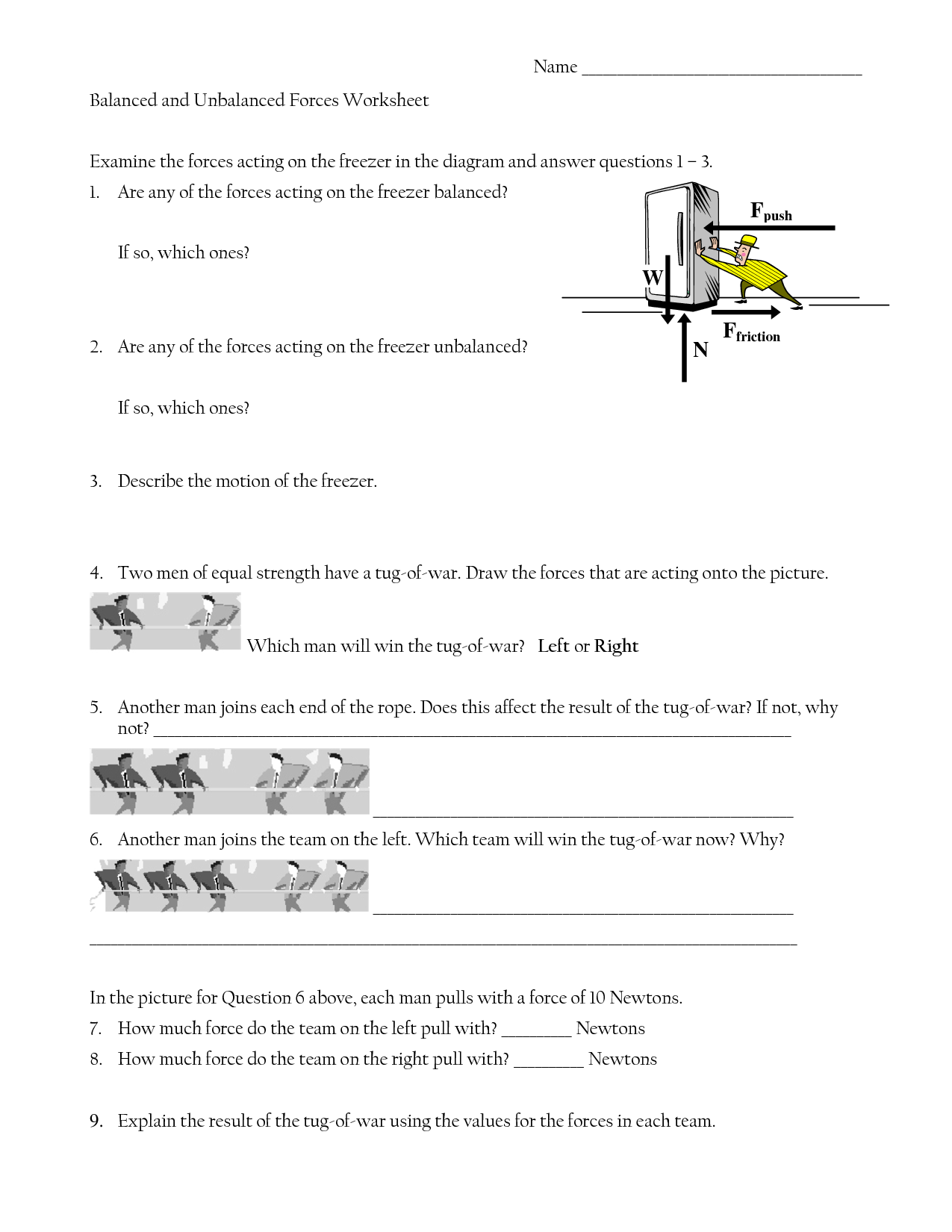 Drawing Force Diagrams Worksheet