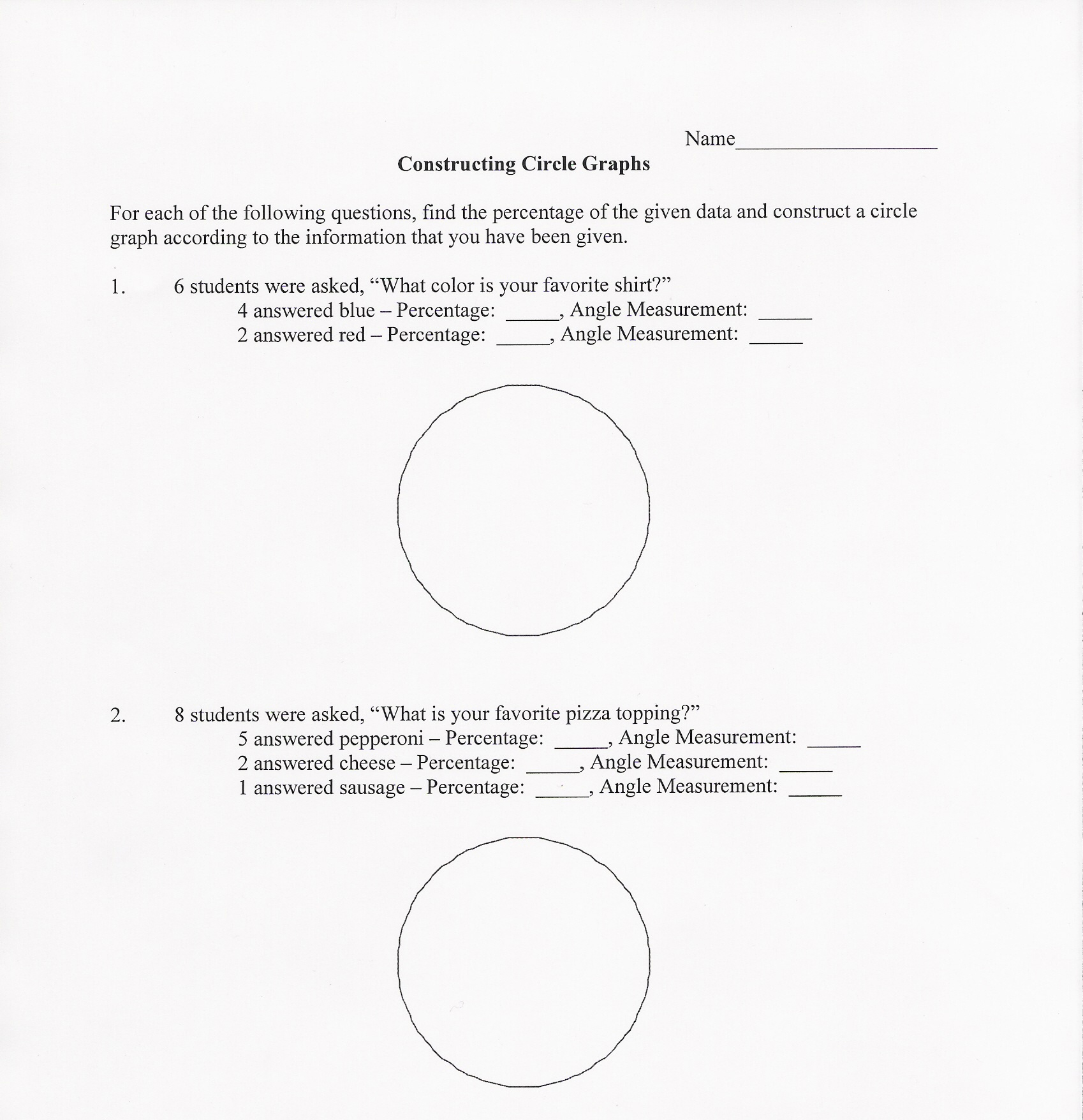 hight resolution of Circle Graphs Worksheet   Printable Worksheets and Activities for Teachers