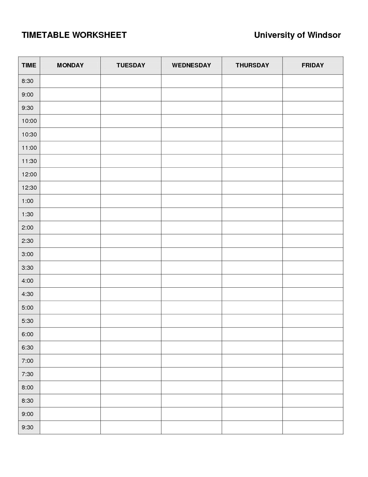 6 Best Images Of College Schedule Planner Worksheet