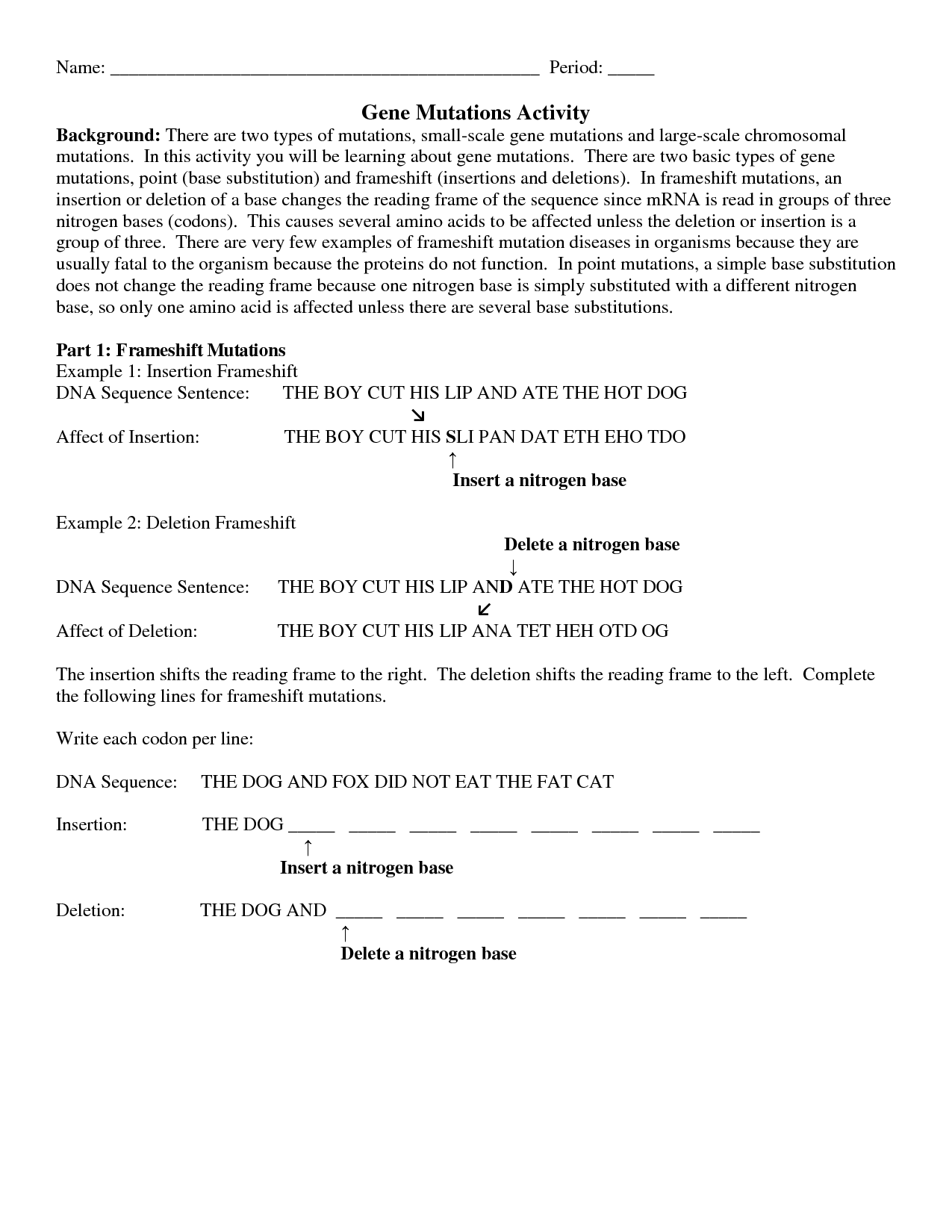 Dna Mutations Practice Worksheet Answer