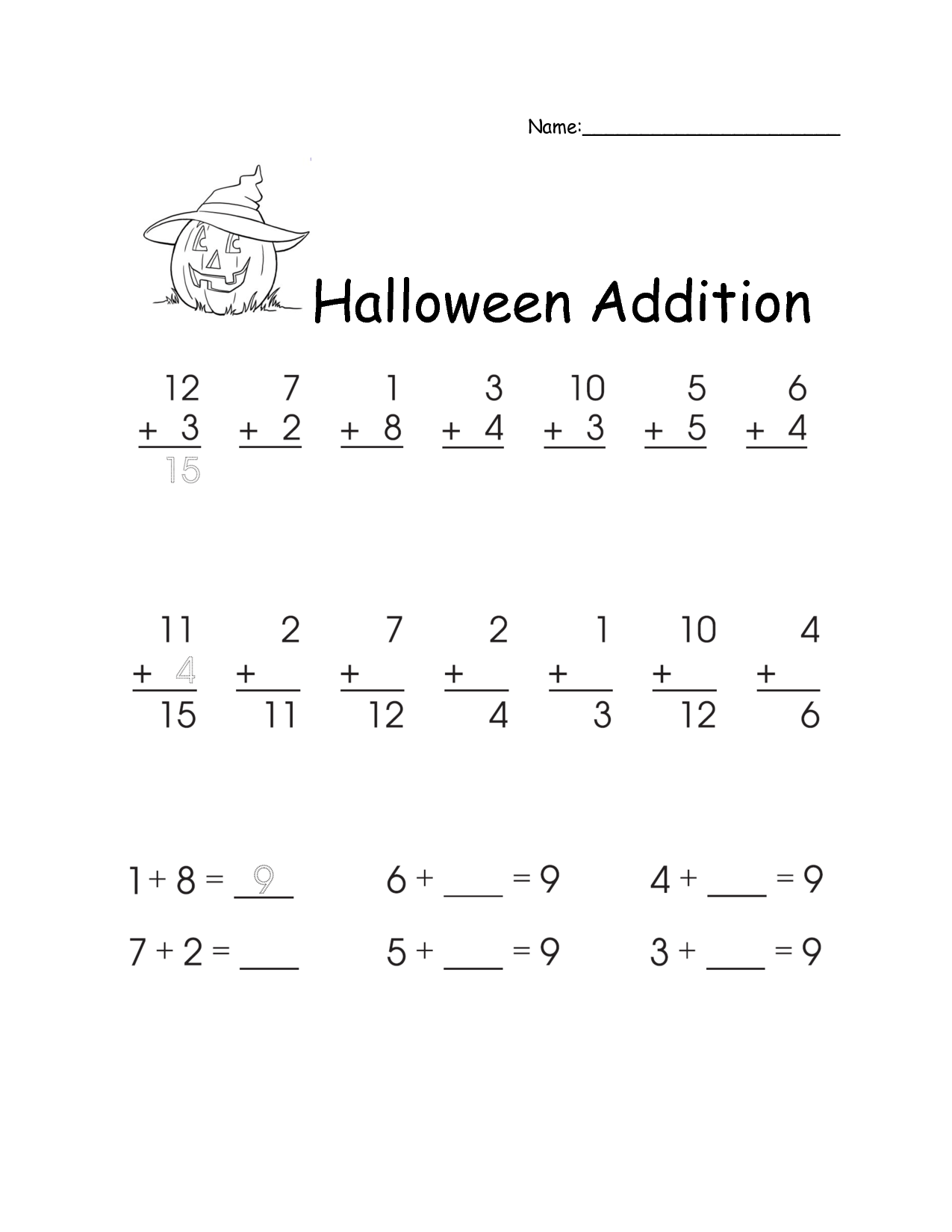 Addition Homework For First Grade