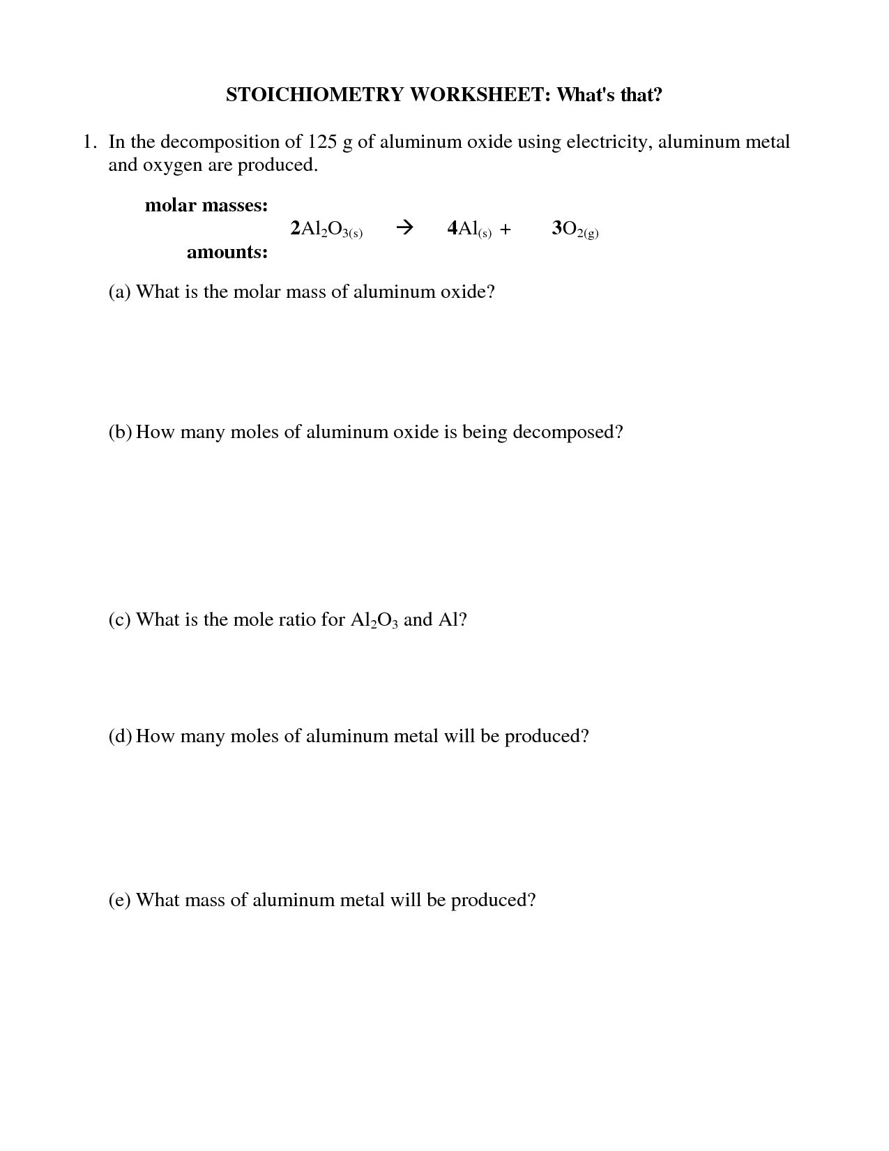 Mass Mass Stoichiometry Worksheet