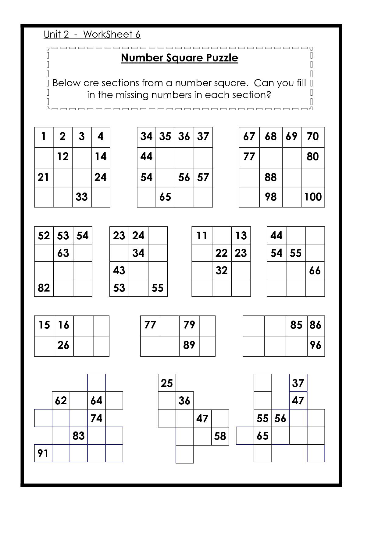 9 Best Images Of Missing Number Grid Puzzle Worksheets
