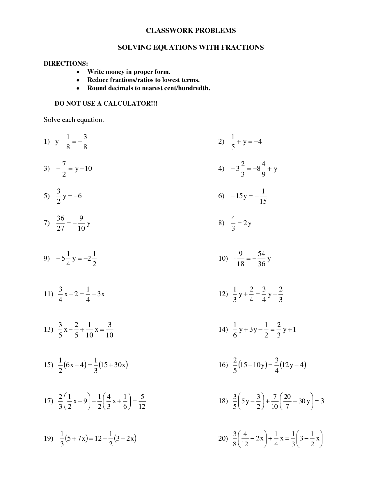 Infinite Solution Equations Worksheet One Solution