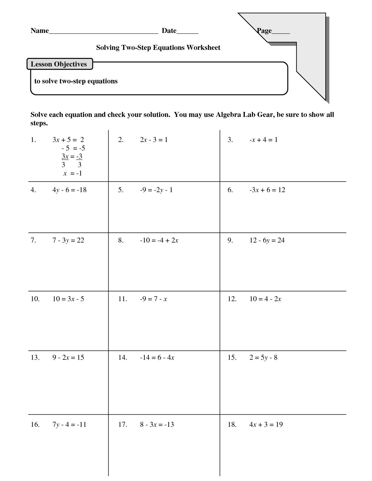 Solving 2 Step Equations Worksheets