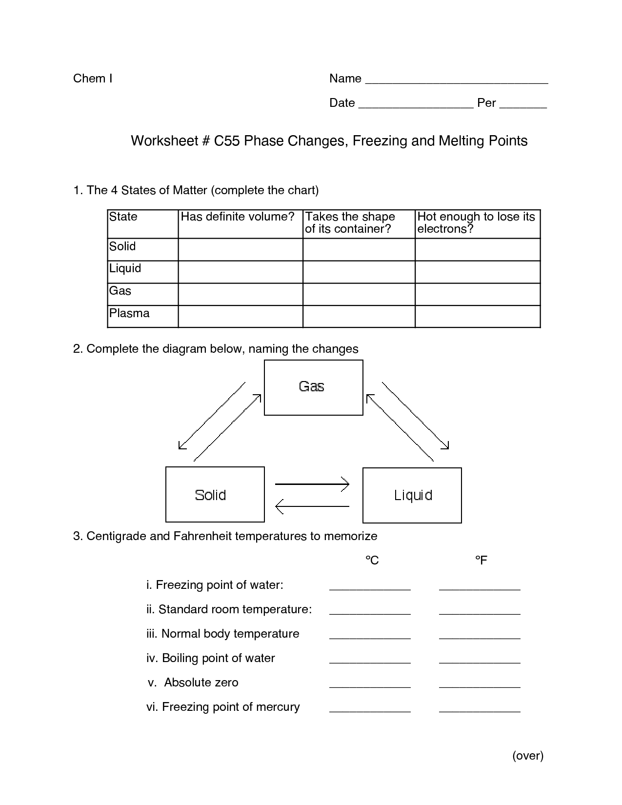 States Of Matter Science Worksheet Grade 2