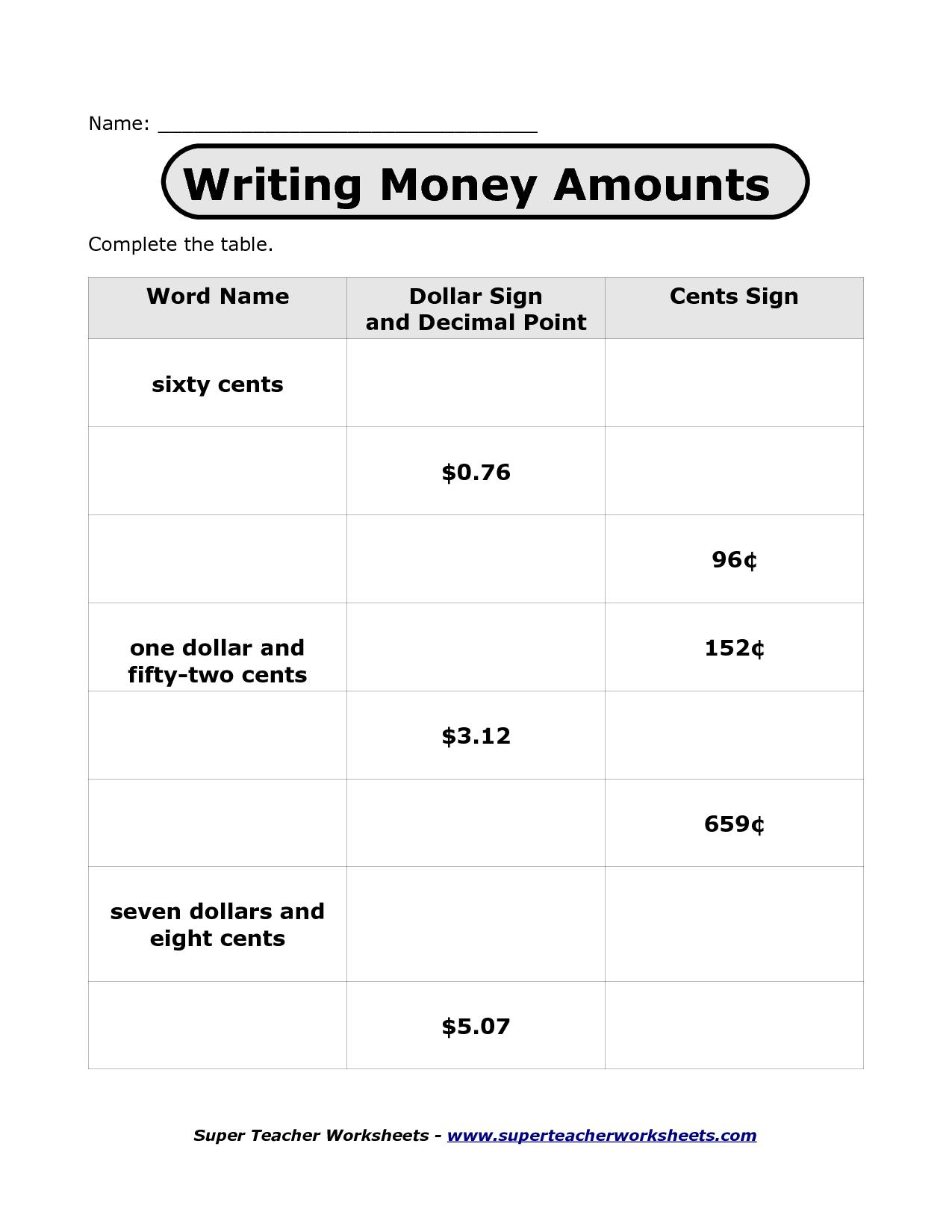 13 Best Images Of Super Teacher Worksheet Money
