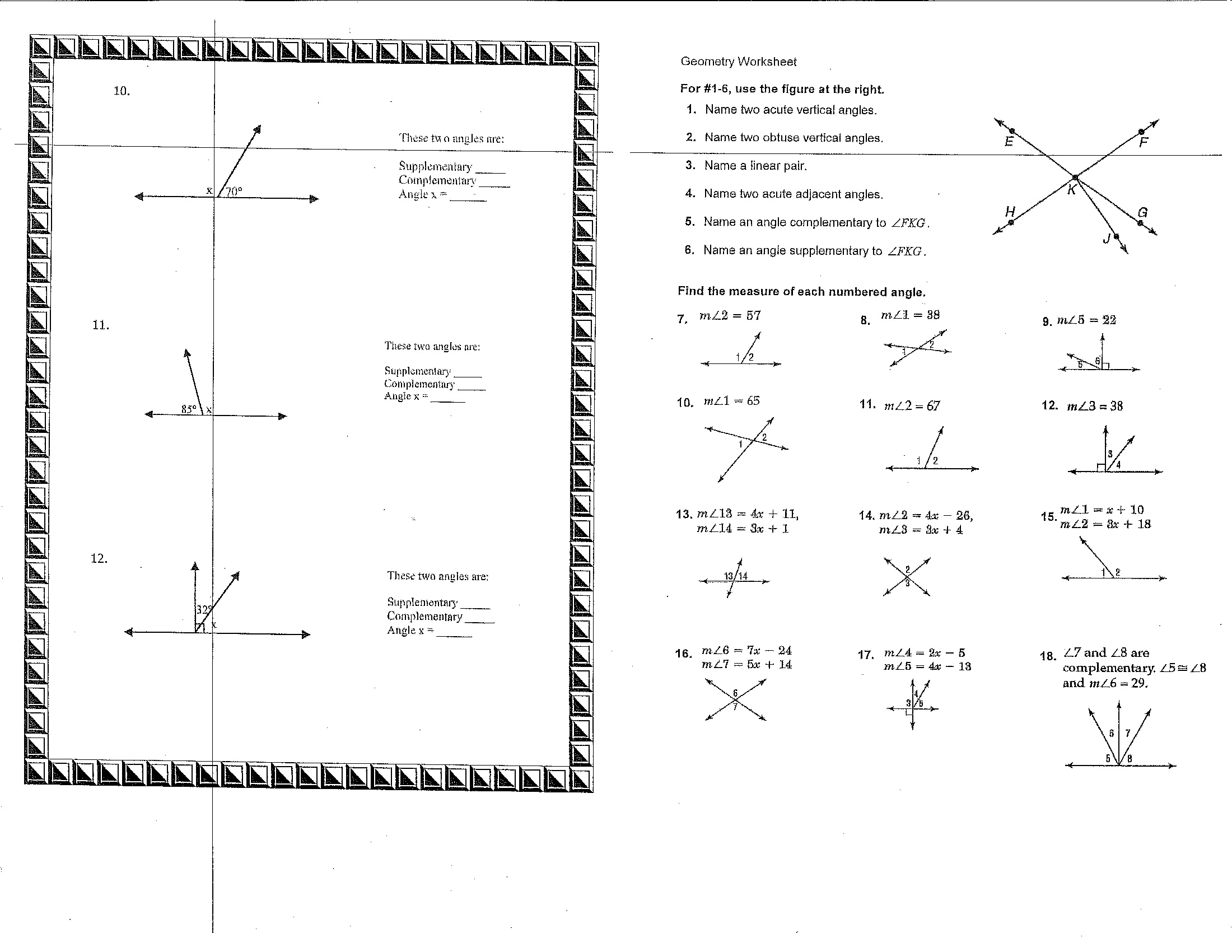 Math Worksheet 8th