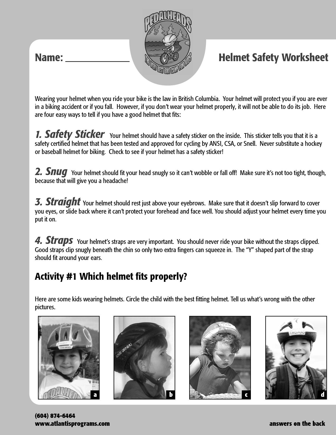 12 Best Images Of Bike Safety Worksheets