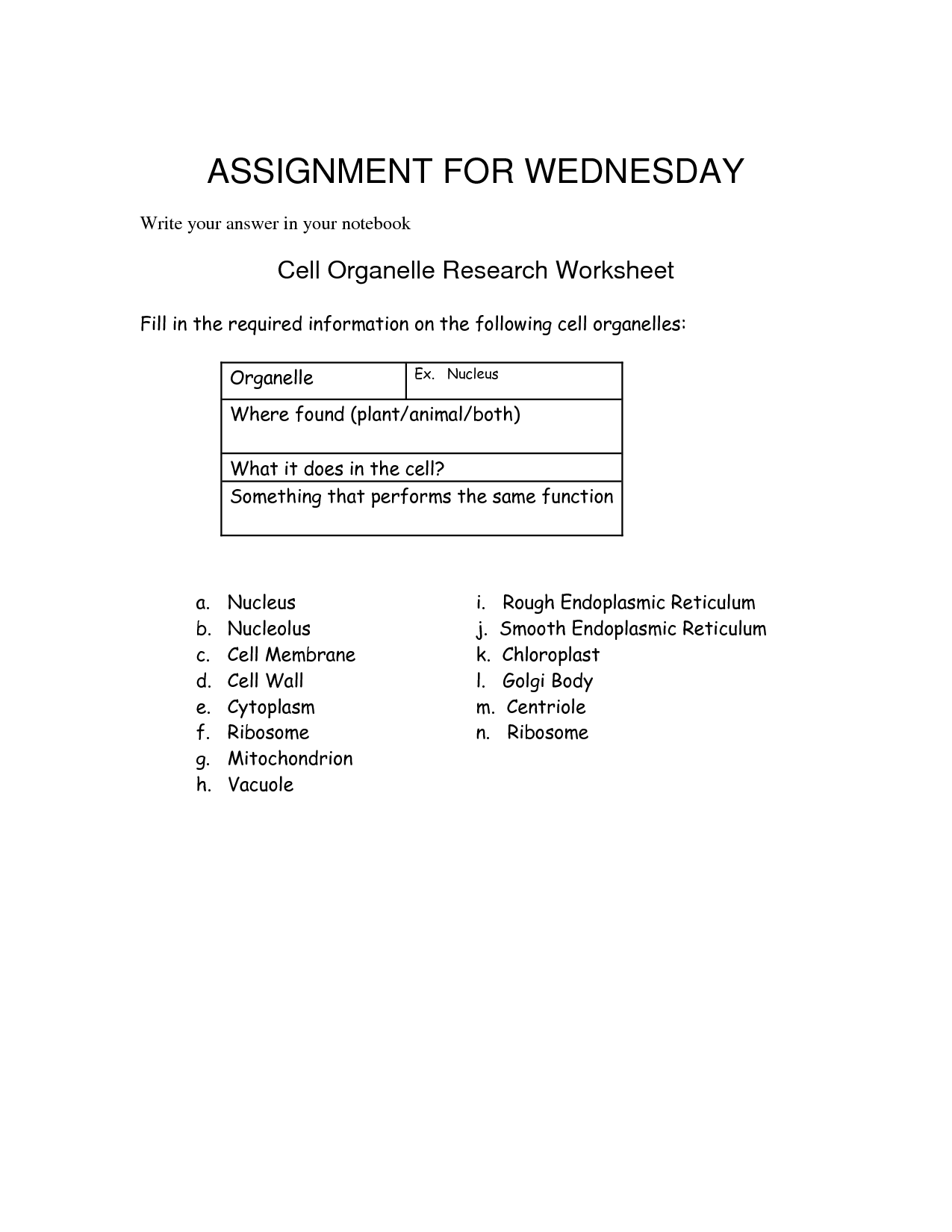 32 Cell Organelle Research Worksheet Answer Key