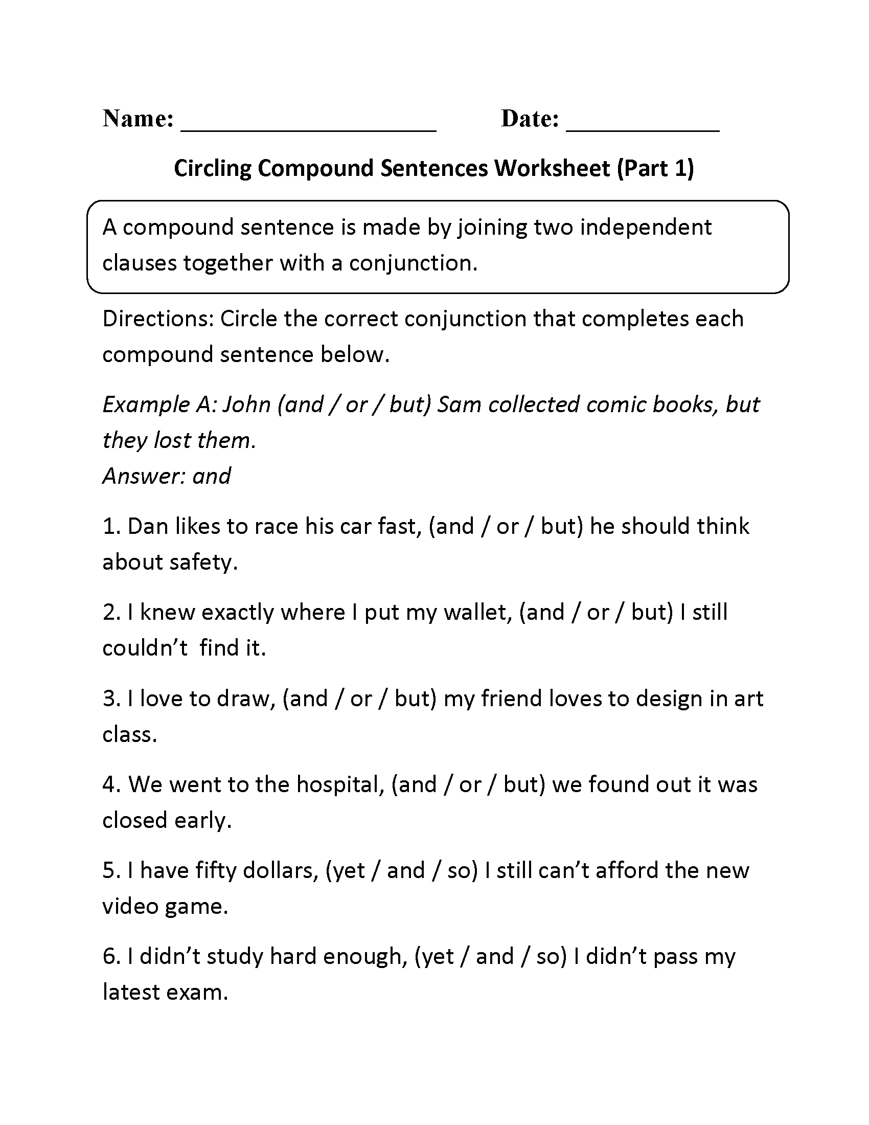 14 Best Images Of Fun Writing Worksheets Compound