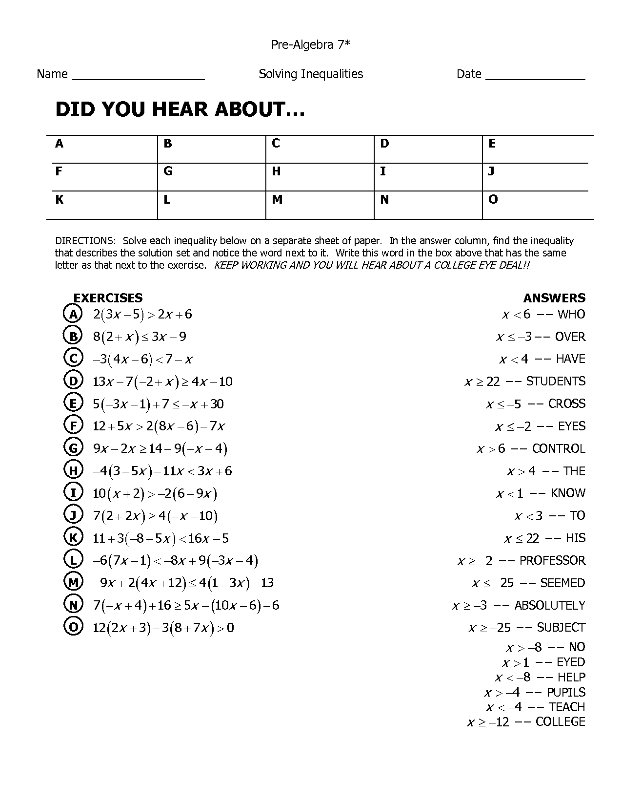 12 Best Images Of Prealgebra With Pizzazz Worksheets