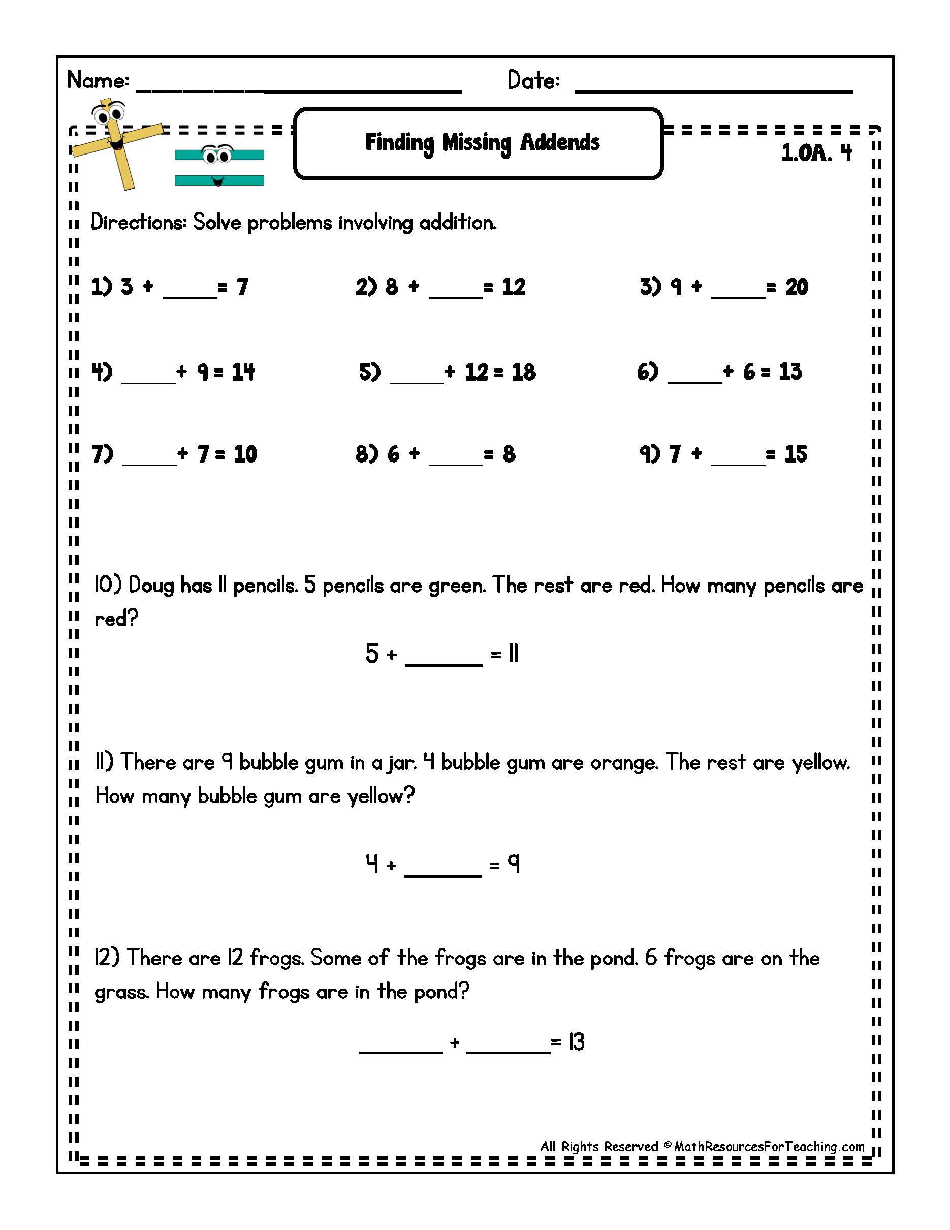 16 Best Images Of Worksheets For First Grade Missing Addends