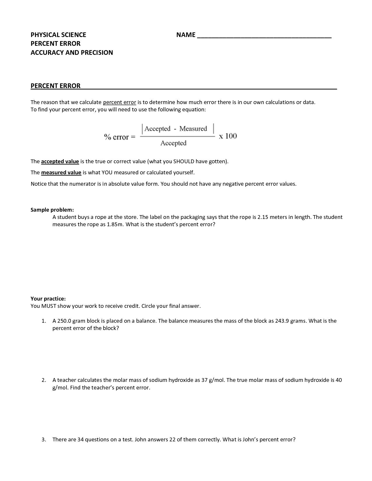 Percent Error Worksheet Photos