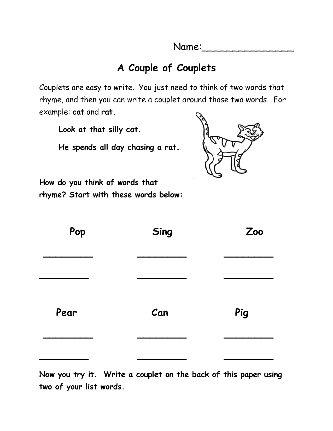 14 Best Images Of Worksheets Writing Couplets