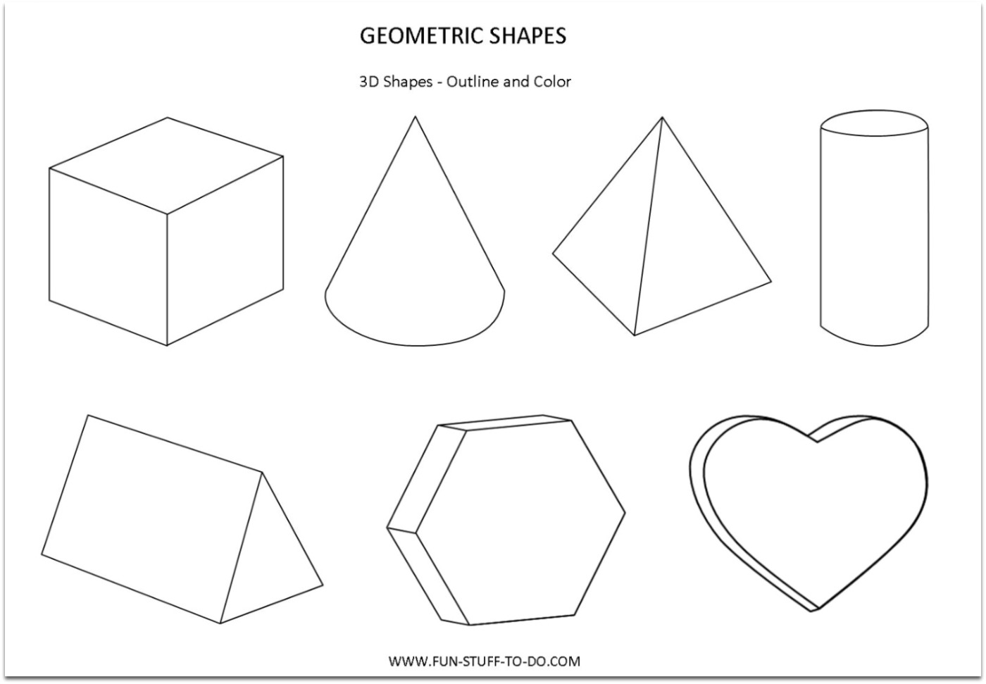 Math Coloring Worksheet Shapes