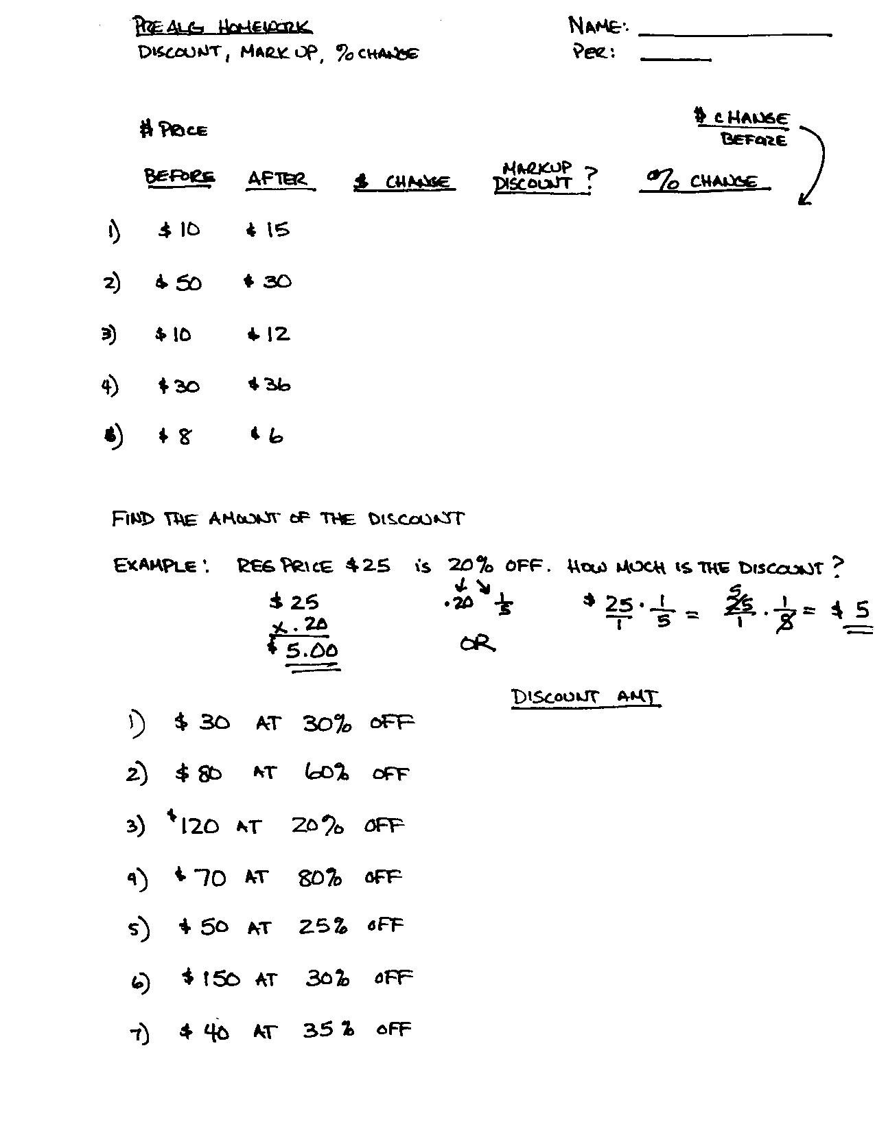 Printable Math Worksheet Percentages