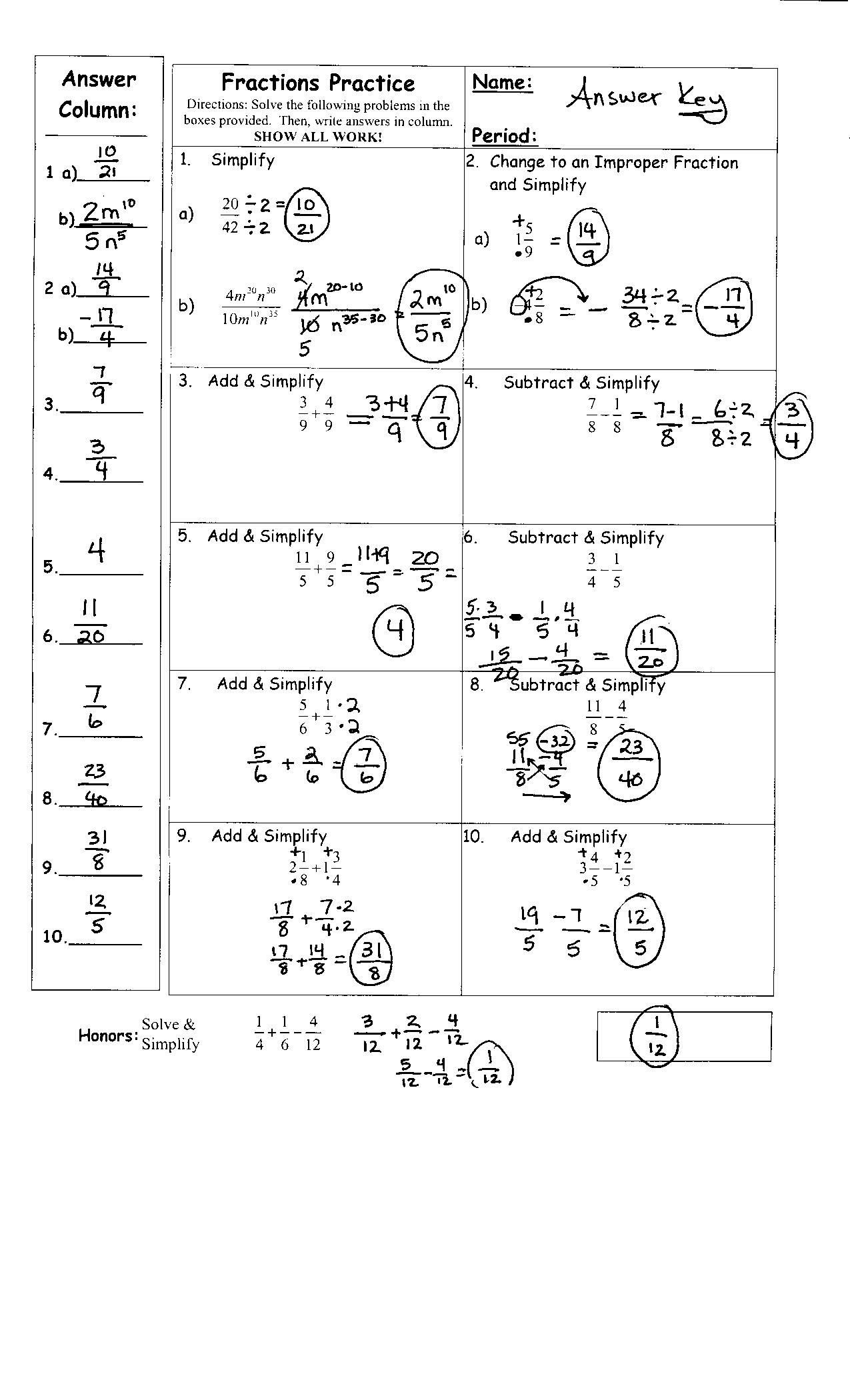Fractions Worksheets Grade 5 Math