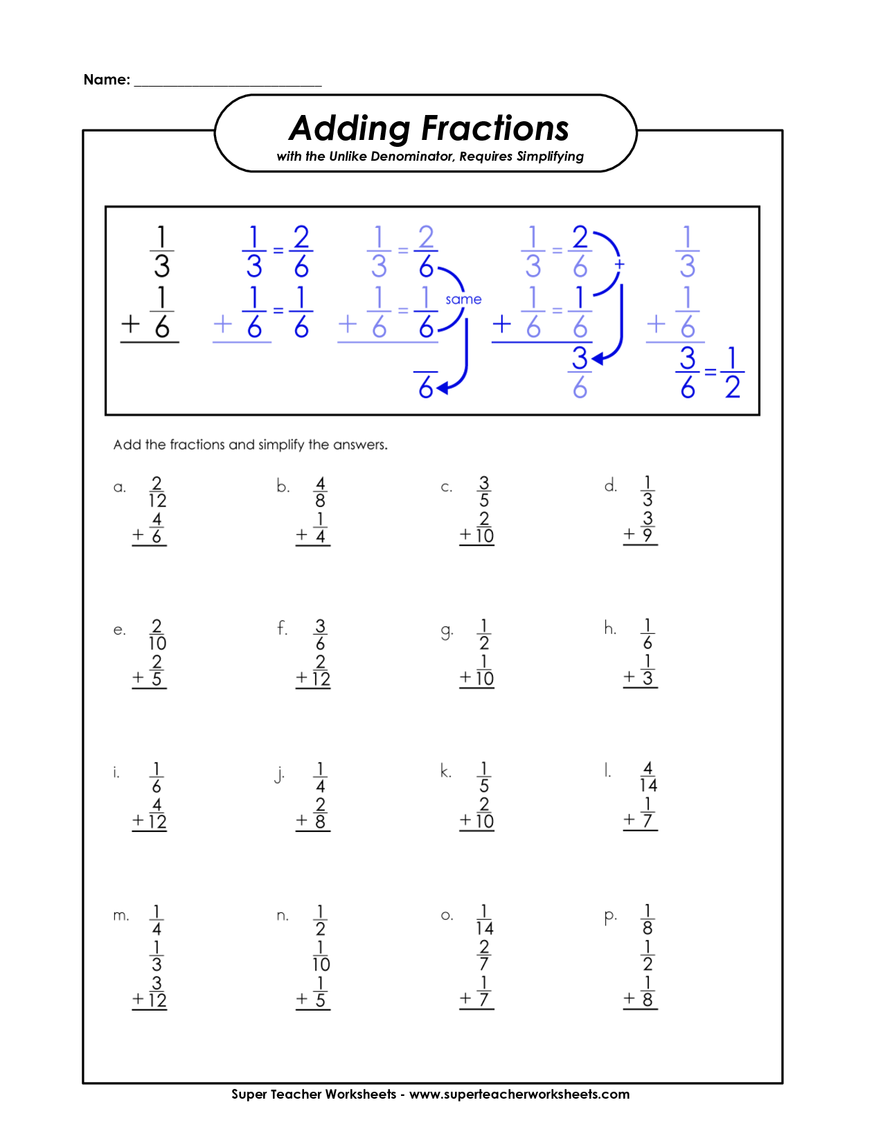Adding Fractions 5th Grade Fraction Worksheet