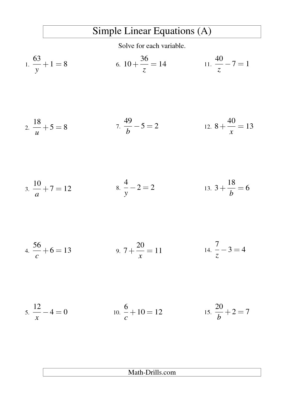 12 Best Images Of One Step Equations Coloring Worksheet