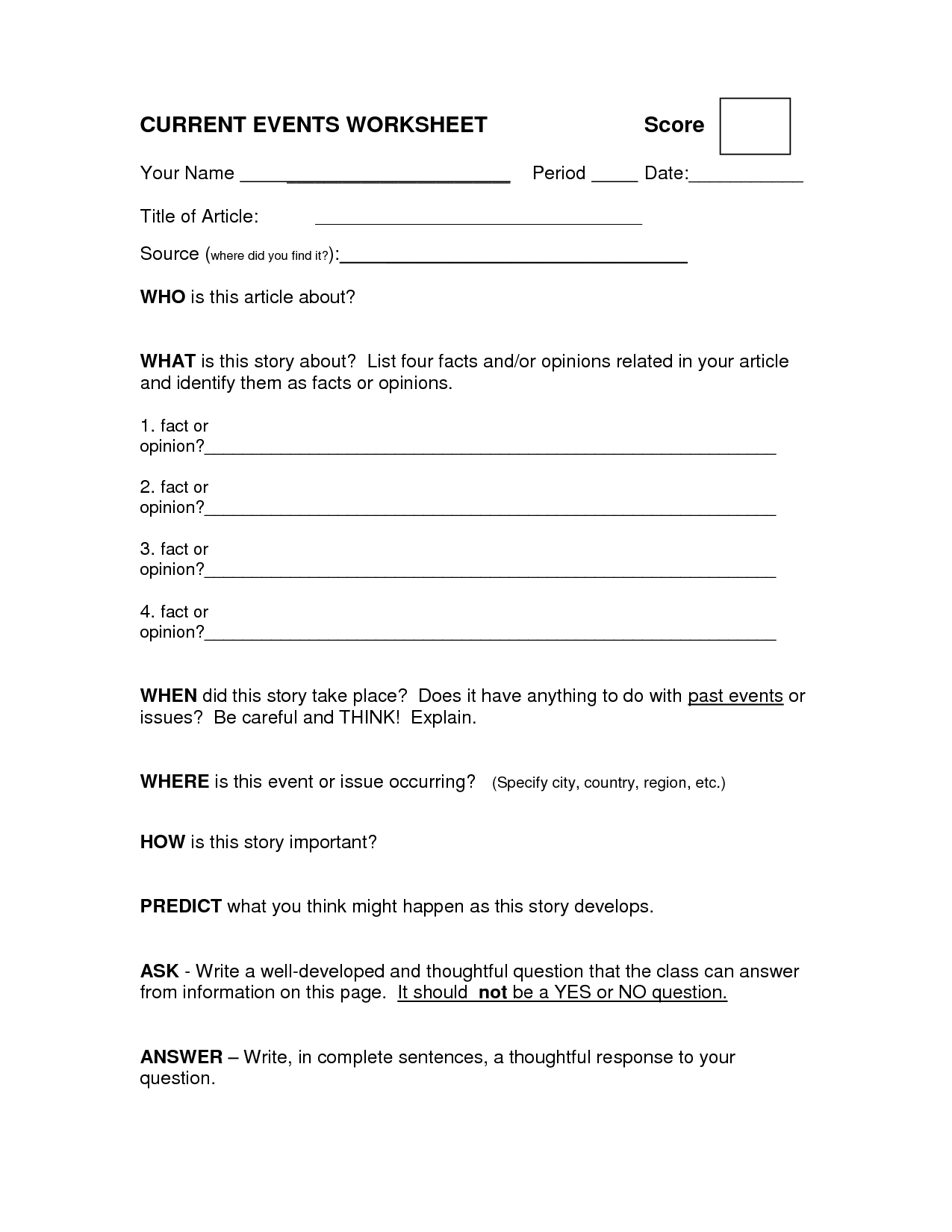 9 Best Images Of Article Summary Worksheet High School