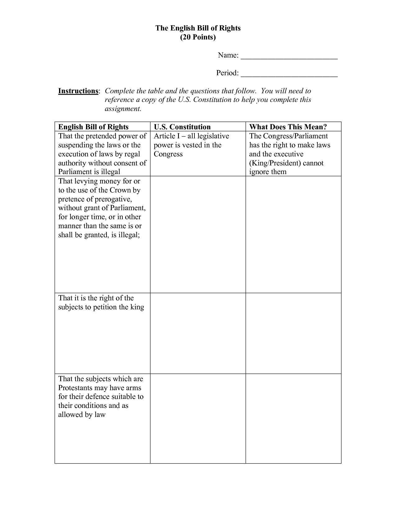8 Best Images Of Bill Of Rights Worksheet