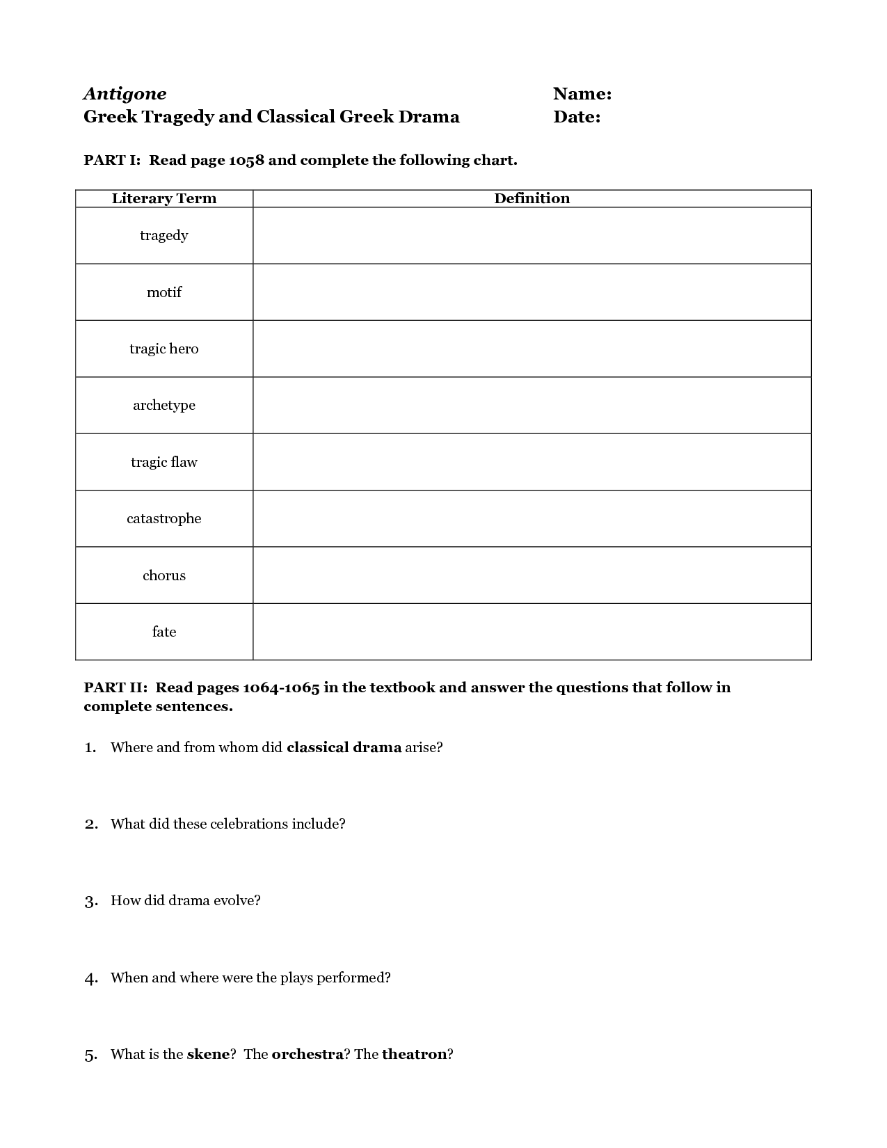 Basic Elements Of Drama Worksheet