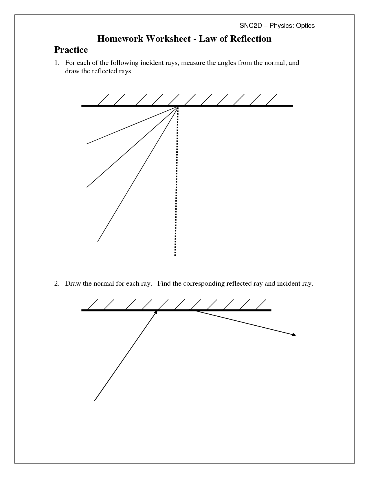 13 Best Images Of Light Reflection Refraction Worksheets