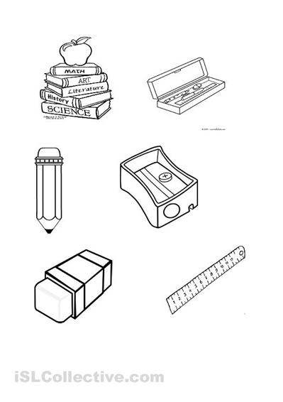 Classroom Objects Worksheets Cut And Paste Sketch Coloring