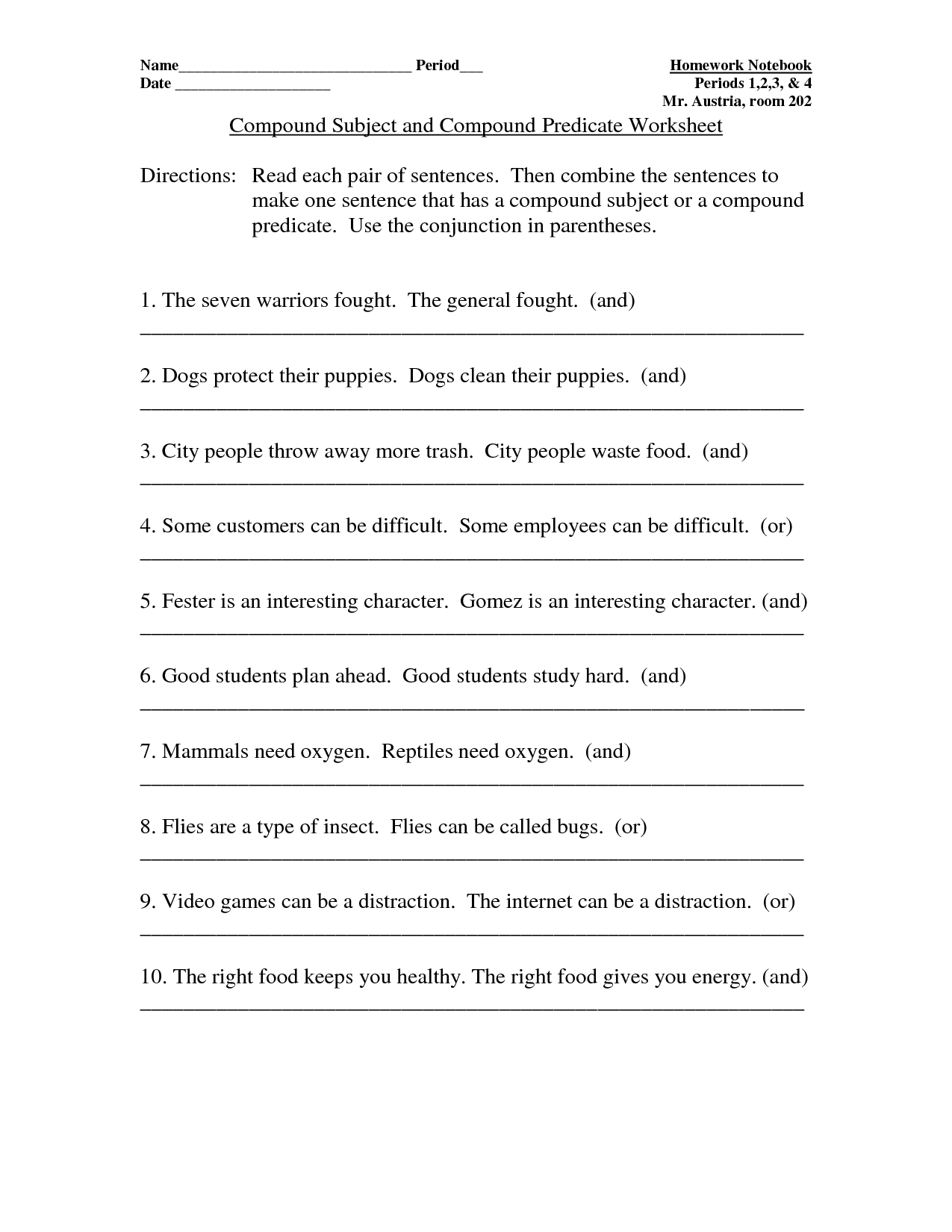 Compound Predicate Worksheet
