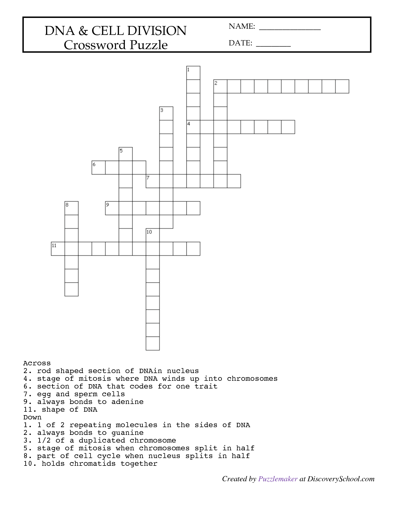 30 Cell Crossword Puzzle Worksheet