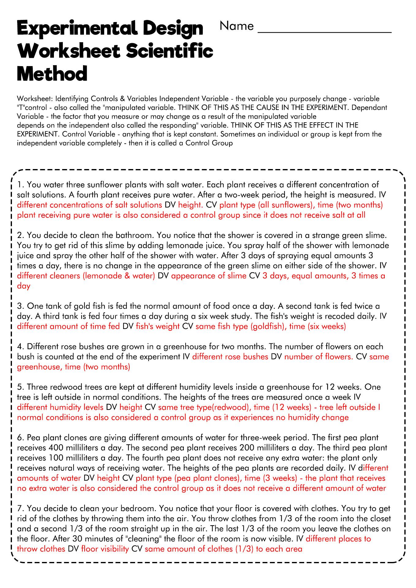 Determining Independent And Dependent Variables Worksheet
