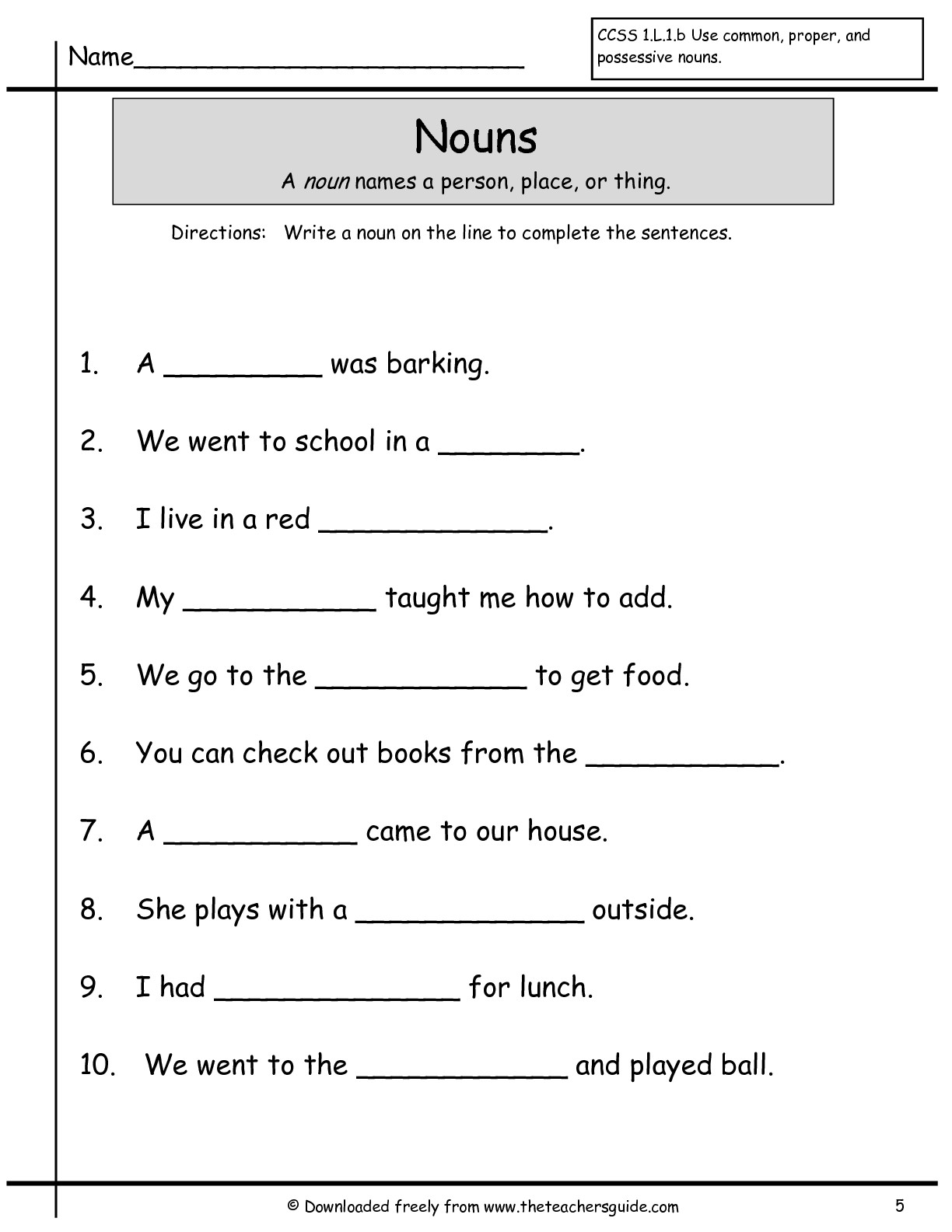 19 Best Images Of Nouns Worksheet Grade 5