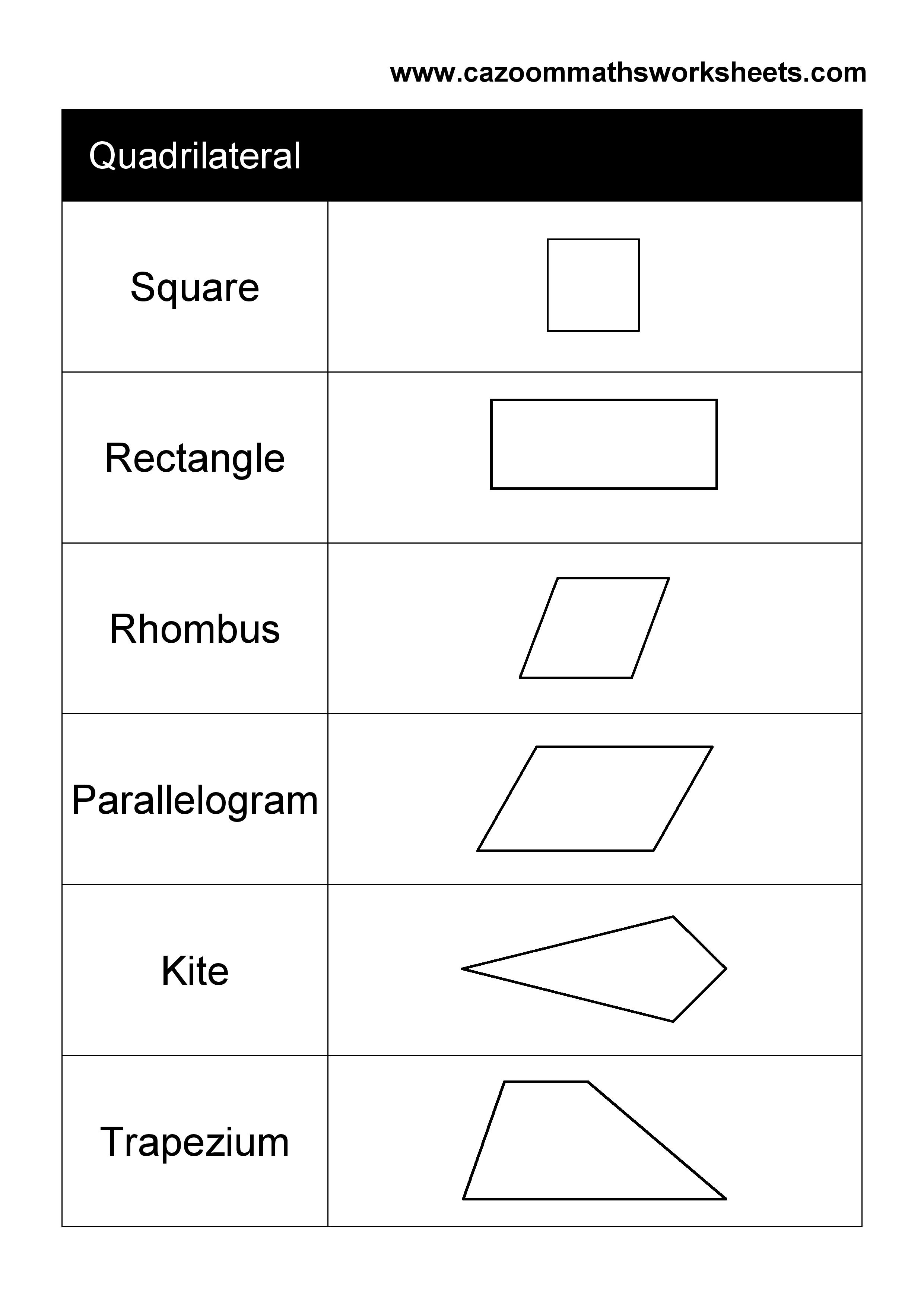 11 Best Images Of Quadrilateral Shapes Worksheet