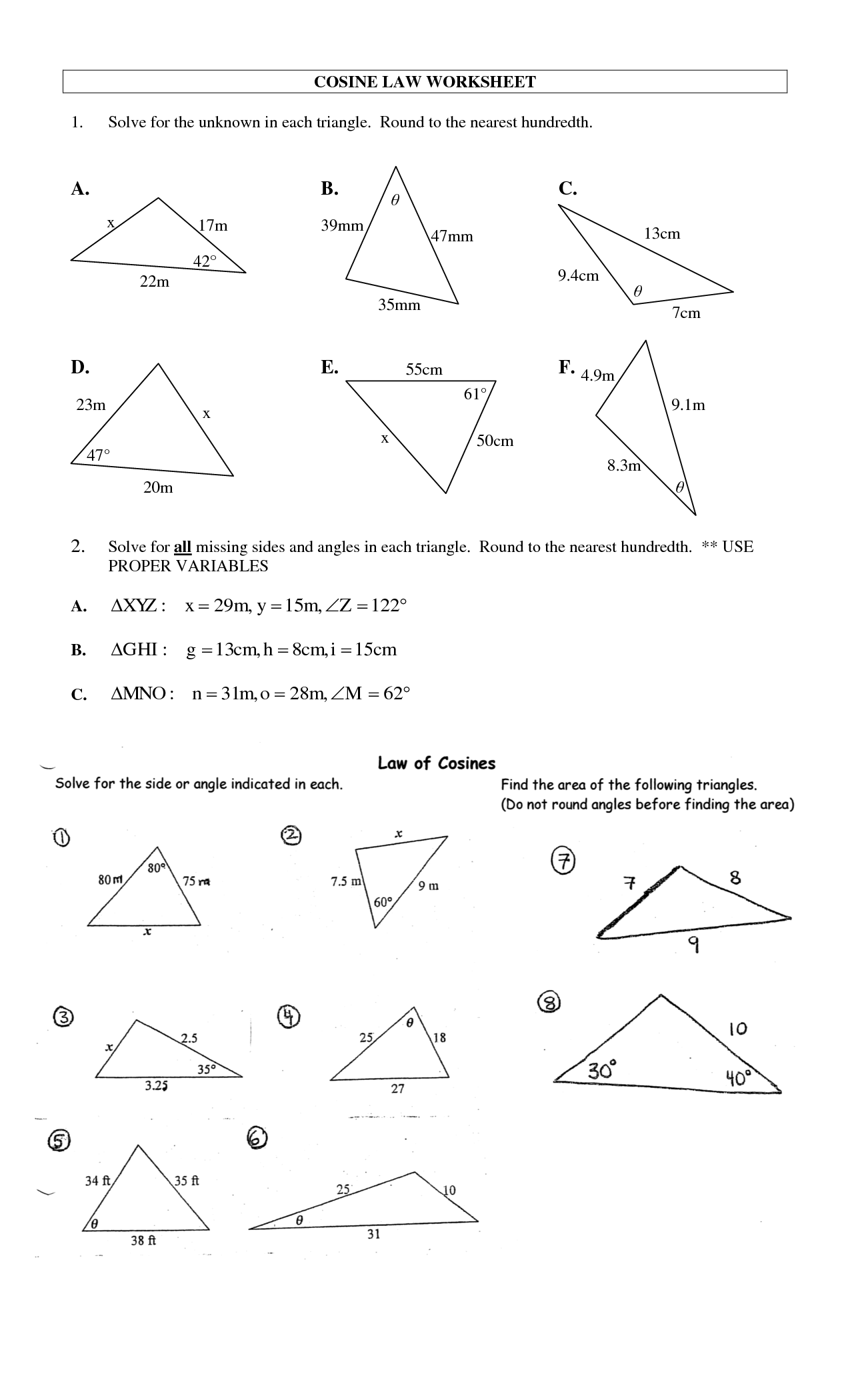 Law Of Sines And Law Of Cosines Worksheet Law Of Cosines Worksheet Worksheets Releaseboard Free