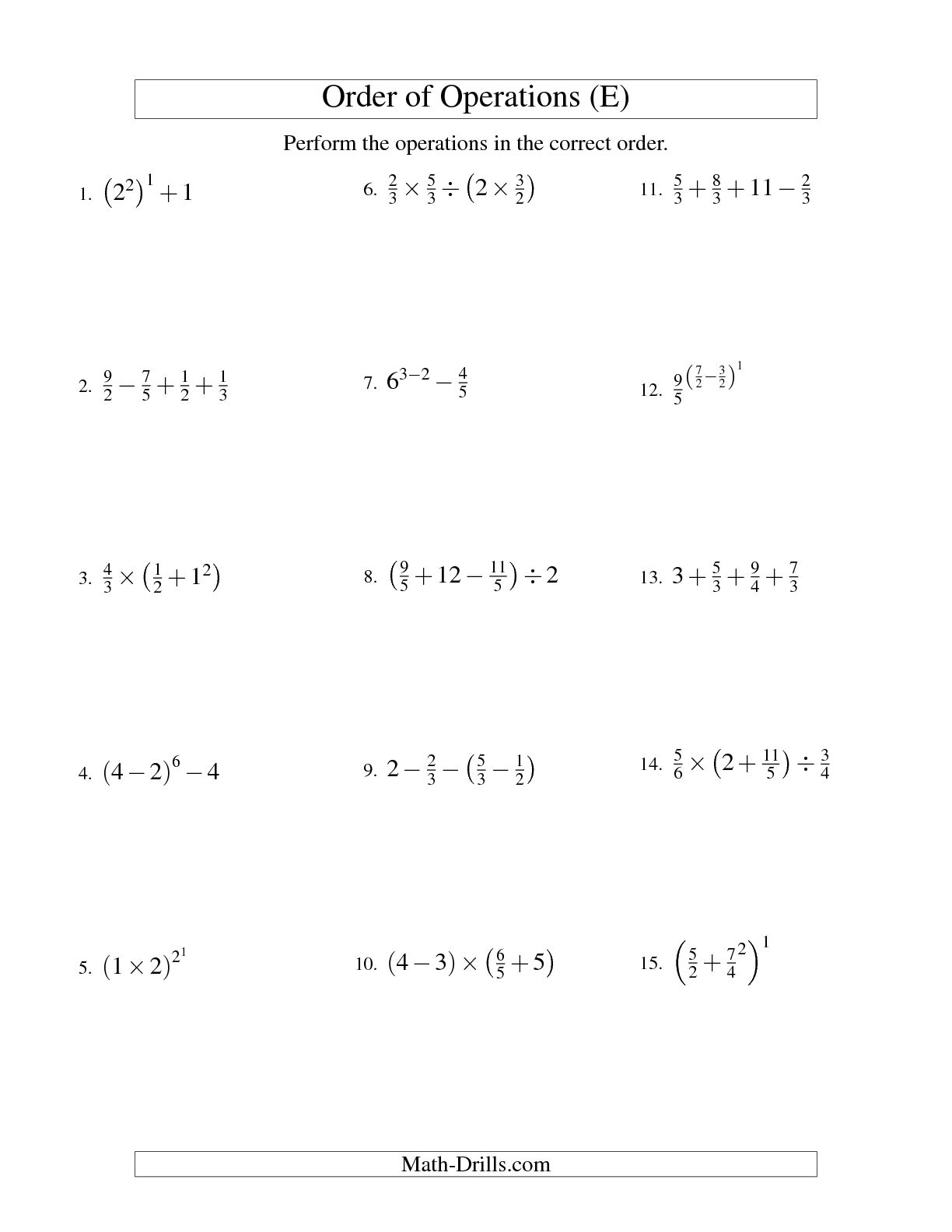 12 Best Images Of Math Operations Worksheet